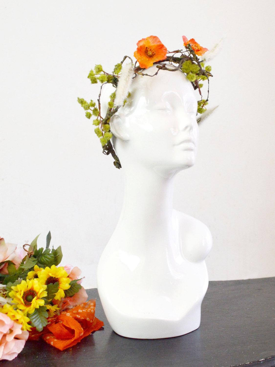 orange and green bohemian wedding head piece