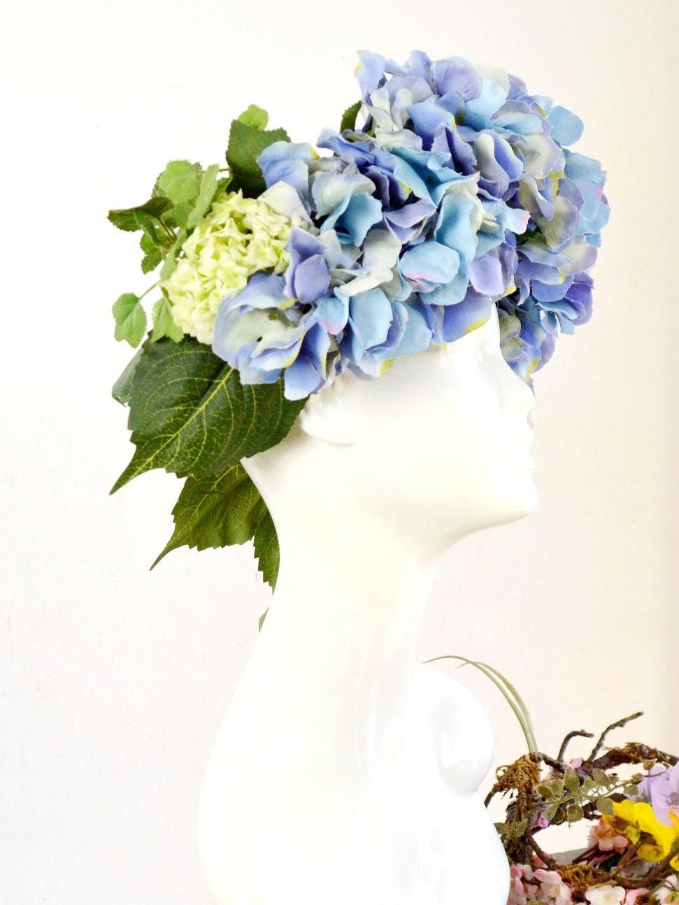 purple hydrangea wedding flower crown