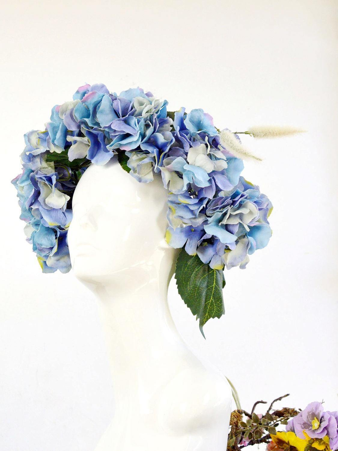 purple flower bridal hair wreath