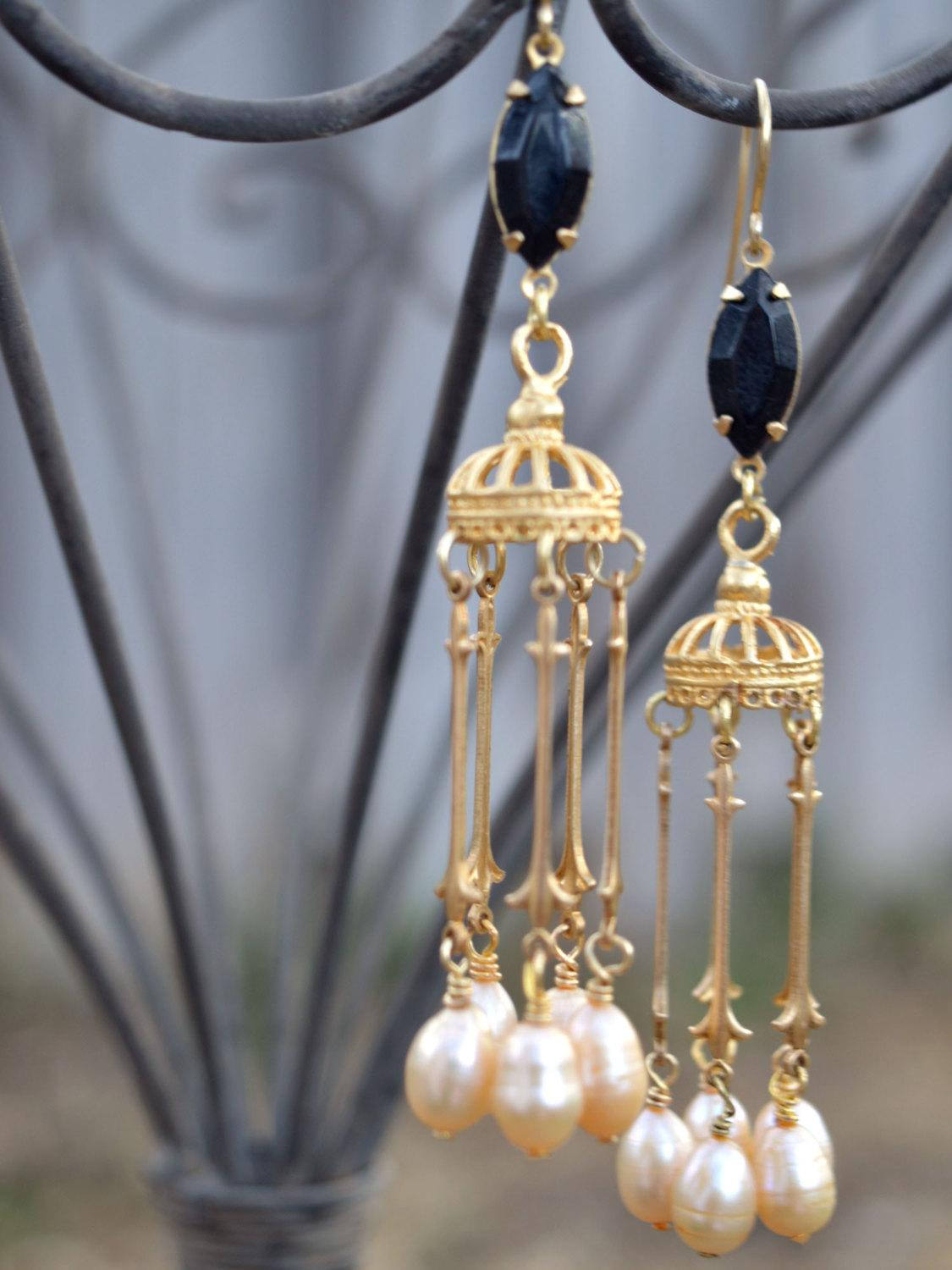 Bohemian bride dangle earrings in gold, black, and ivory.