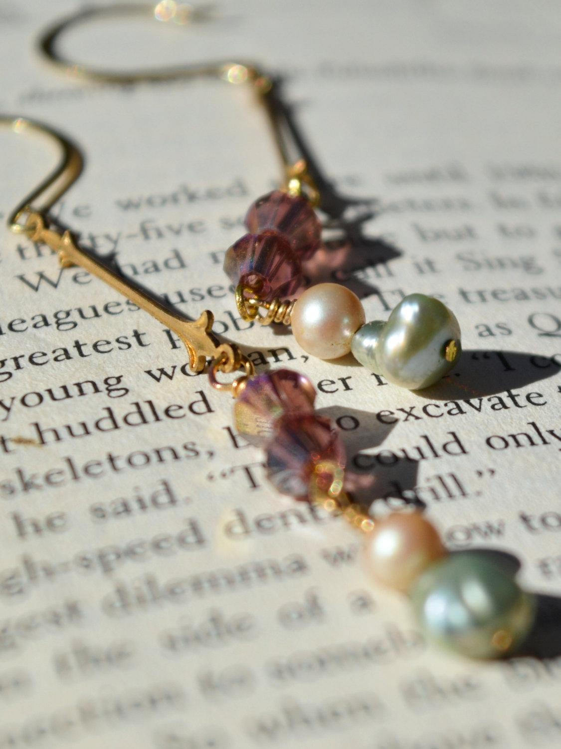 long gold drop earrings with pearls