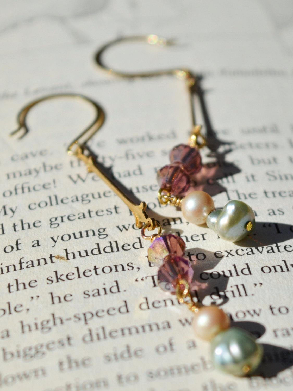 gold pearl drop wedding earrings
