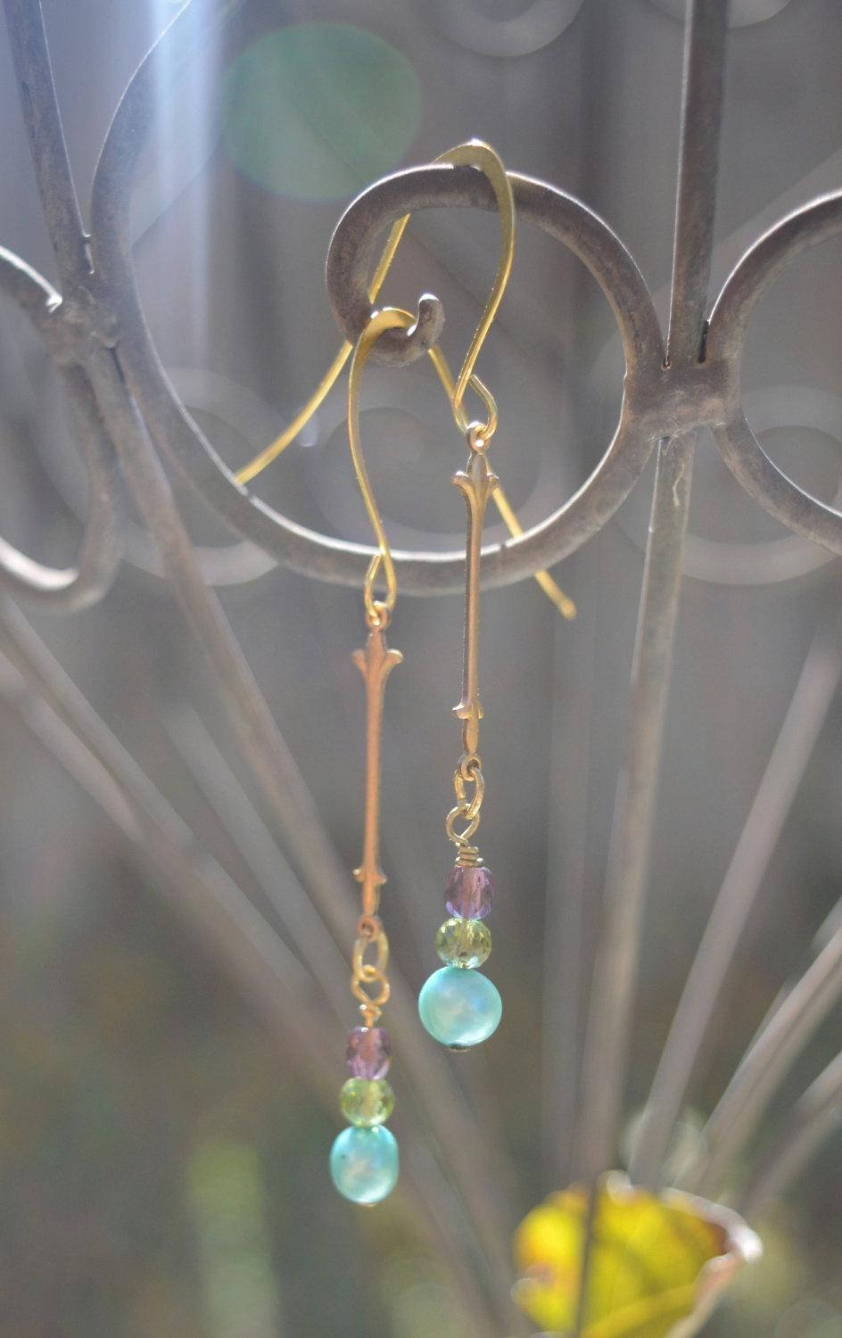 blue pearl and peridot earrings