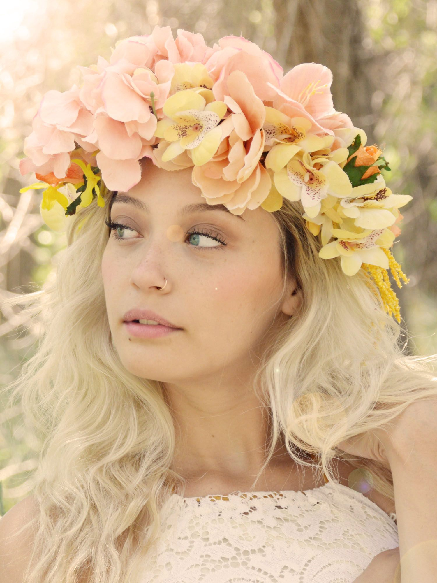 bohemian bridal head piece in pink and gold flowers