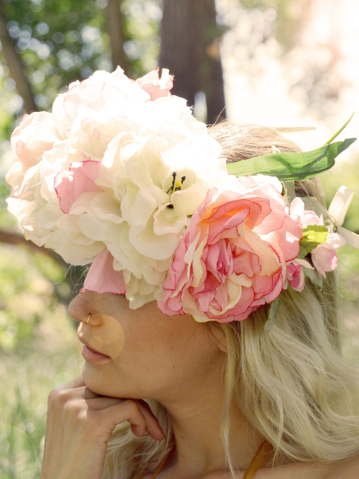 white and pink roses bridal head piece