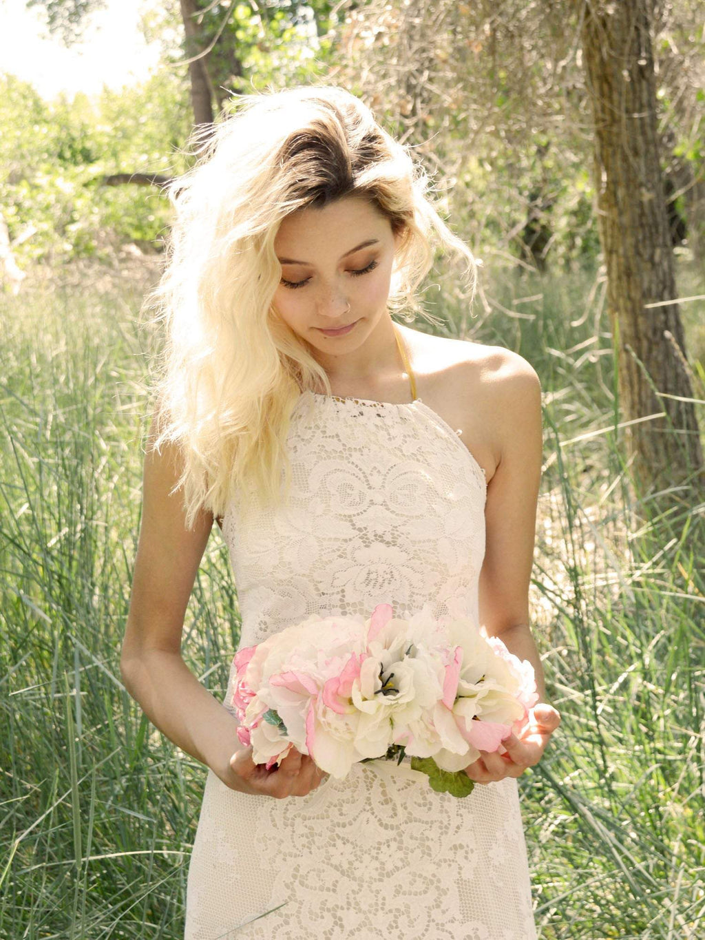 blonde bride with pink and white flower crown