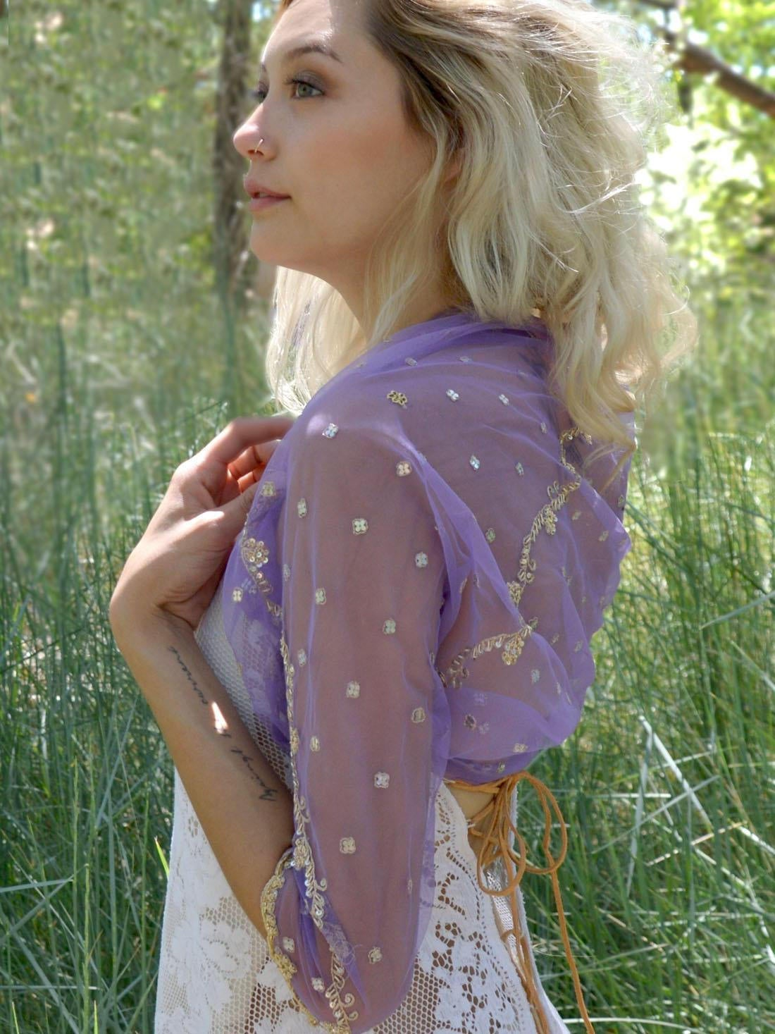 short purple jacket for brides