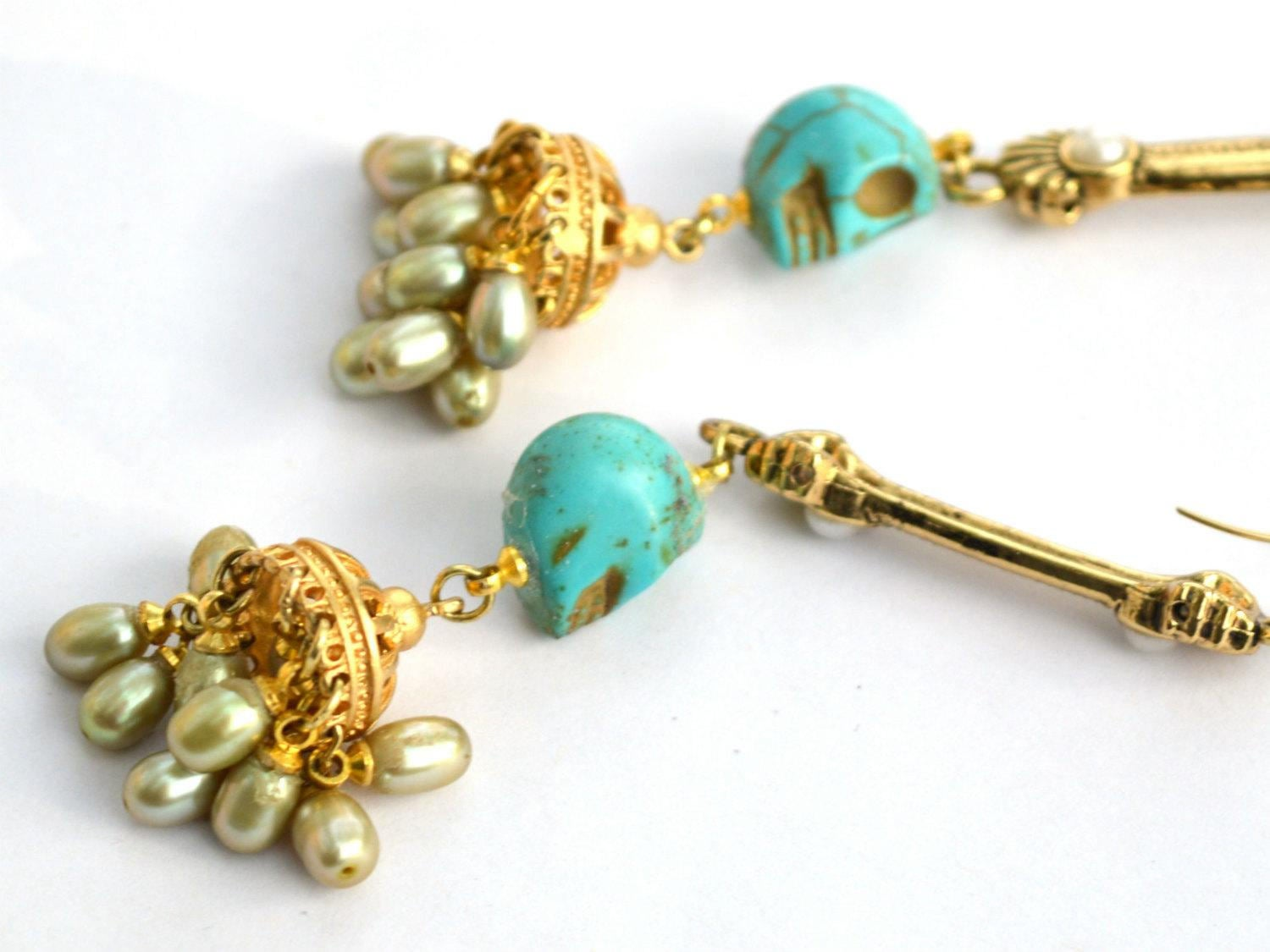 gold, green, and turquoise freshwater pearl and skull wedding earrings