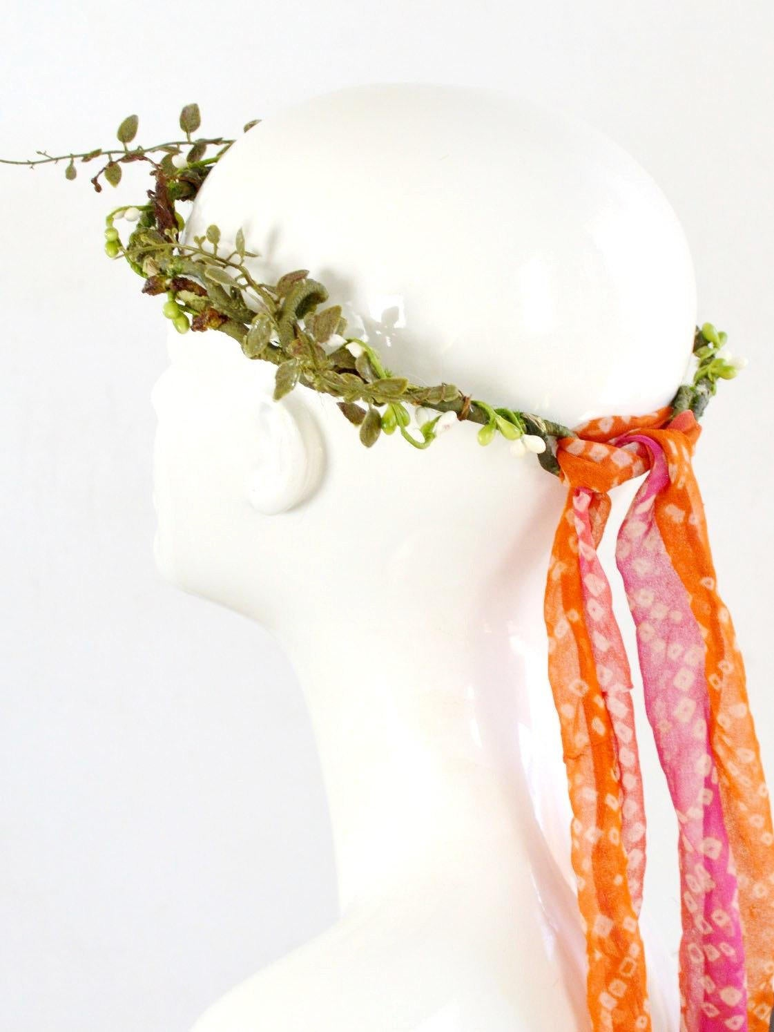 forest outdoor wedding flower crown