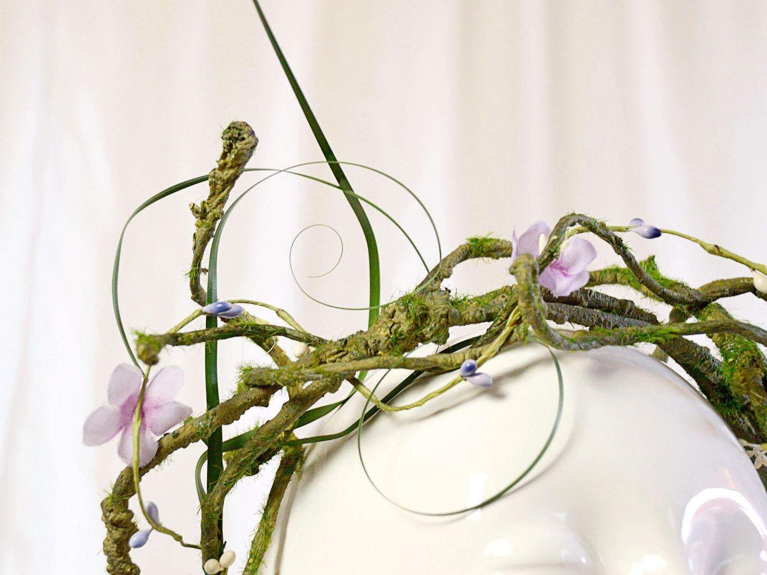 intertwining leaves and vines with purple flowers flower crown brides