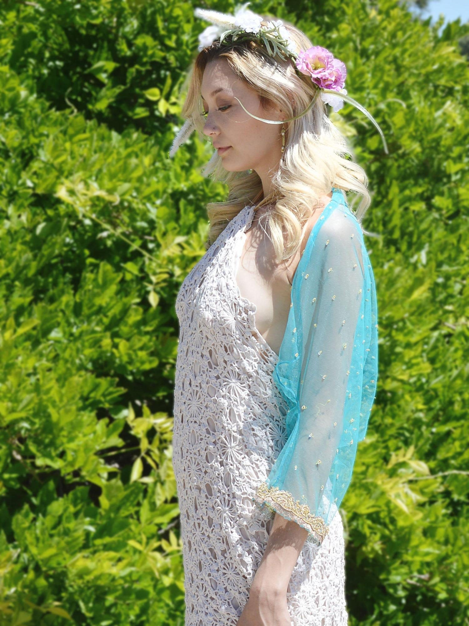 sky blue beaded embroidered wedding shrug