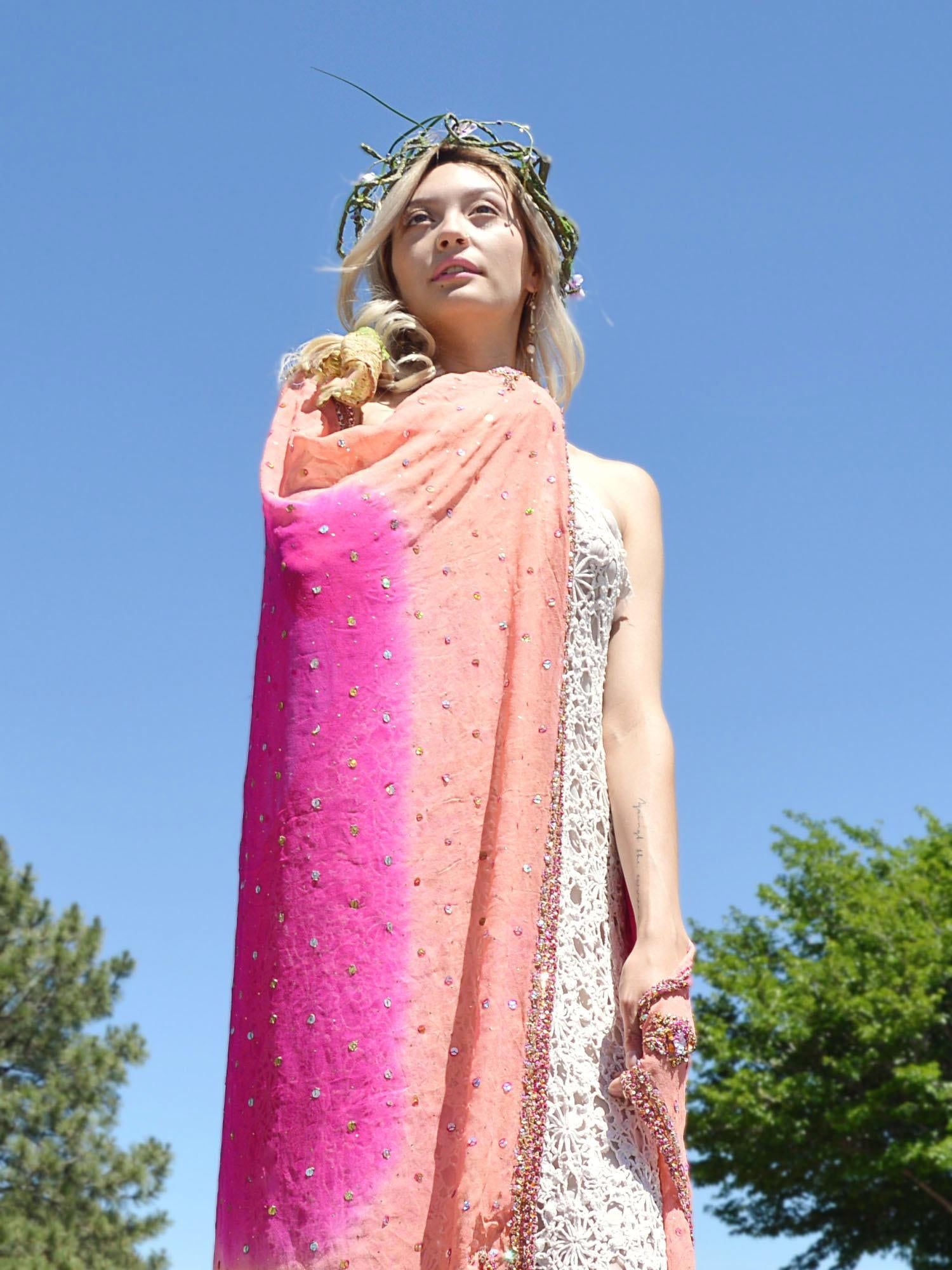 peach and fuschia hot pink embroidered bridal shawl