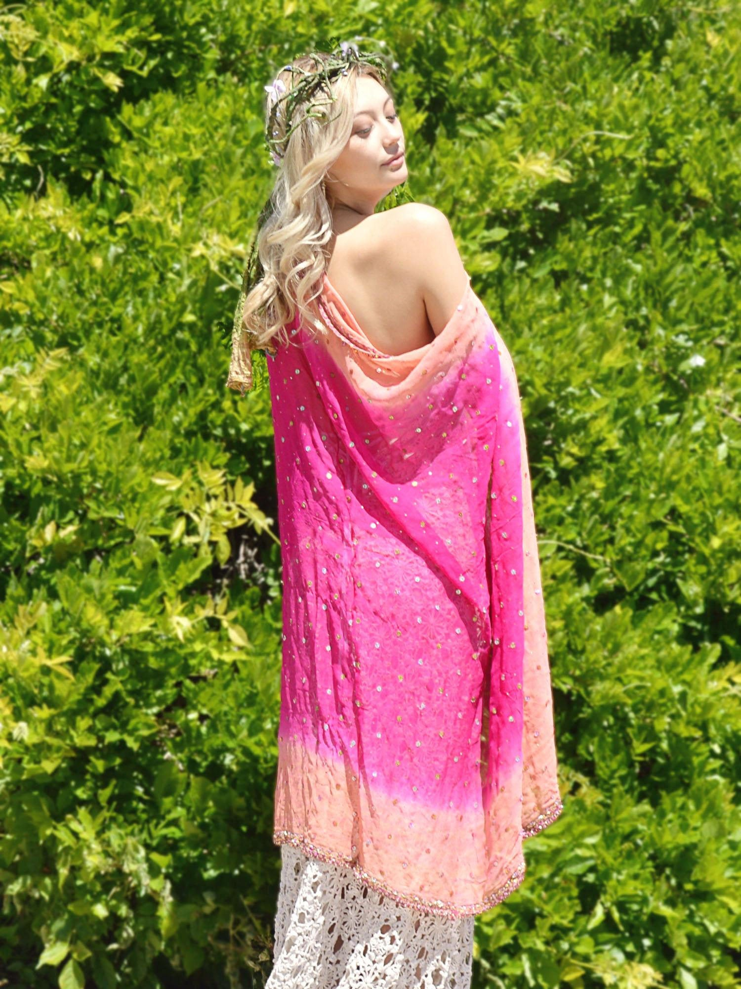 colorful pink silk wedding coverup