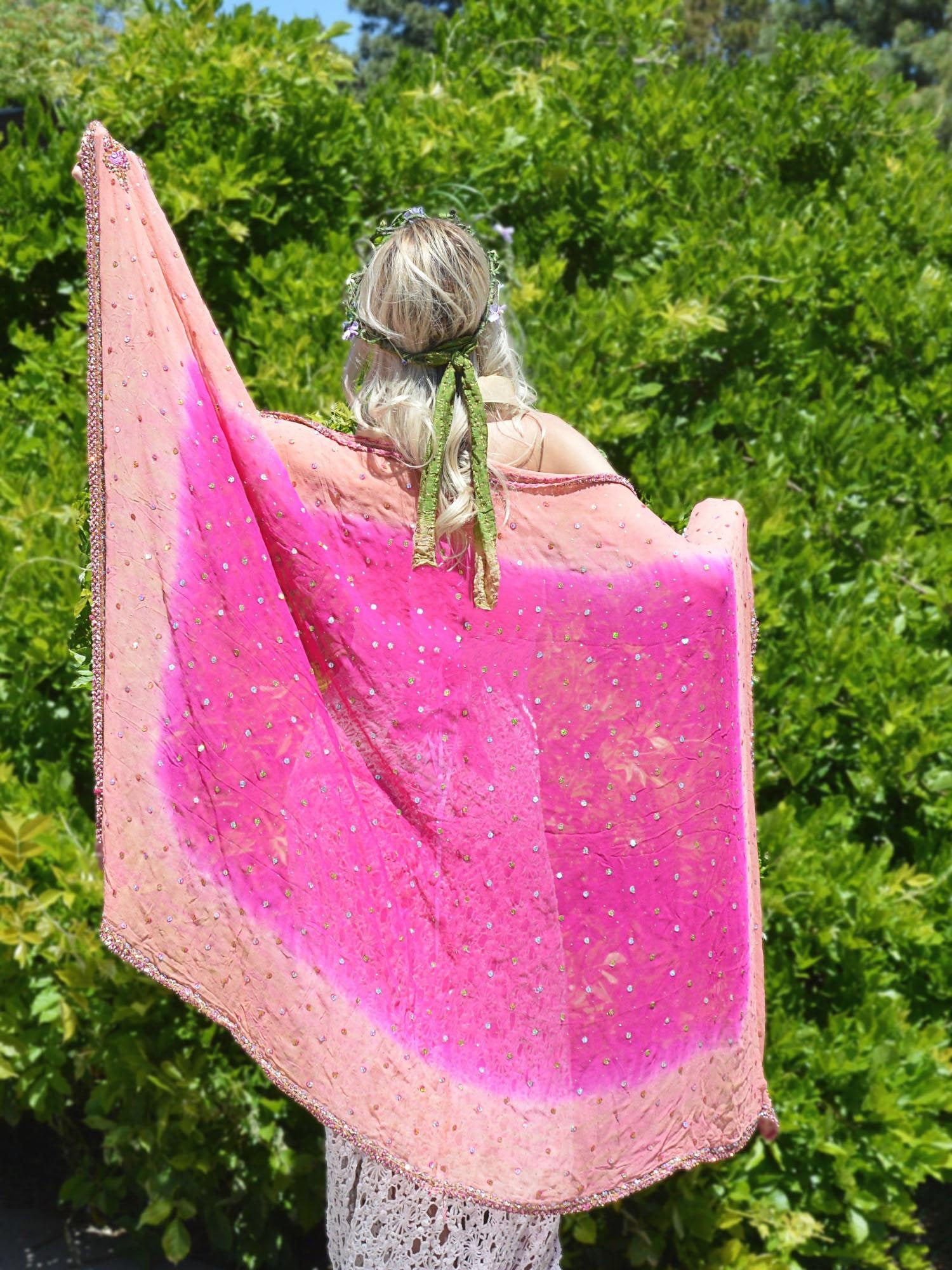 large pink wedding shawl
