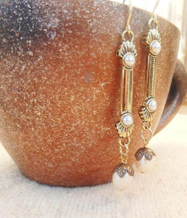 bohemian gold and pearl bridal drop earrings