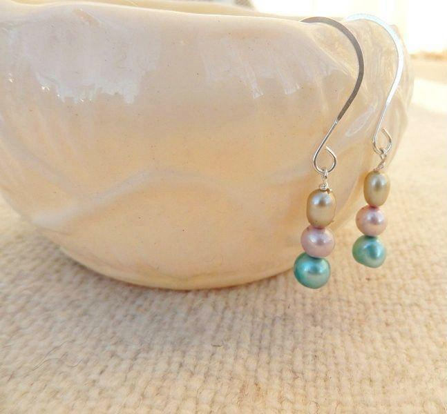 pink, green, and blue freshwater pearl silver drop wedding earrings.