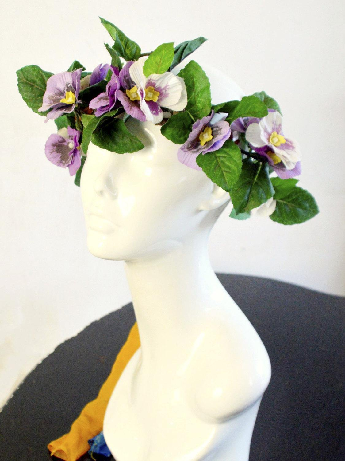 purple pansies bridal crown