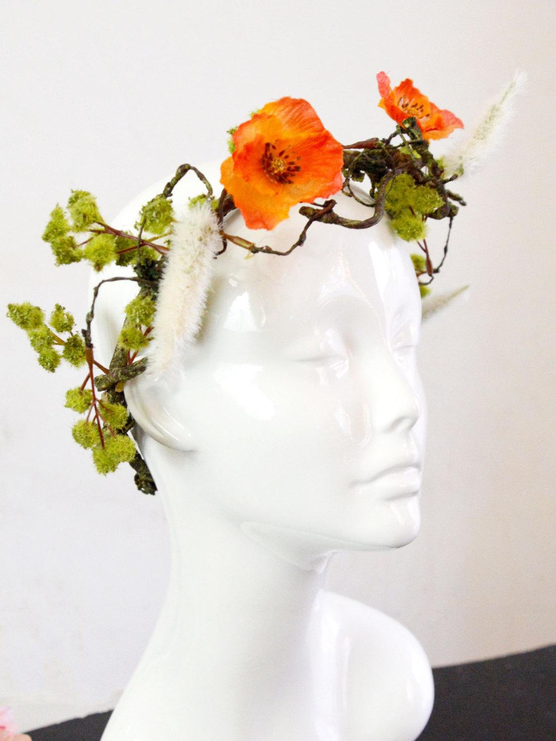 orange poppies, branches, and leaves floral crown