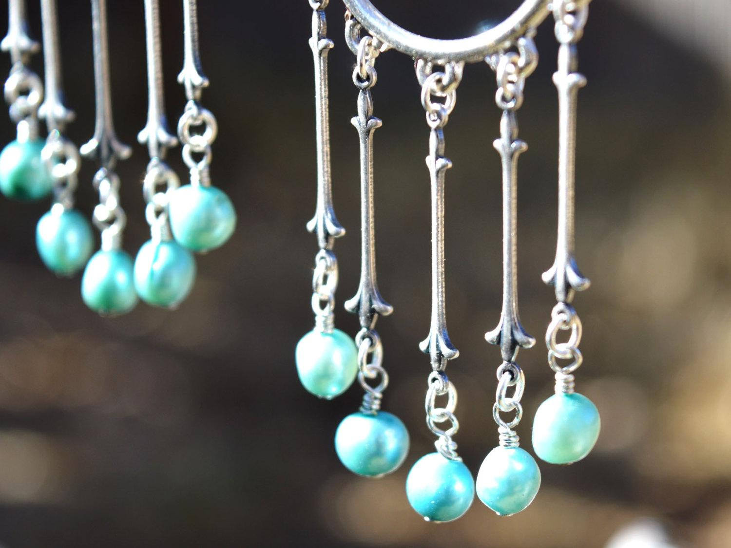 blue and silver bohemian wedding earrings
