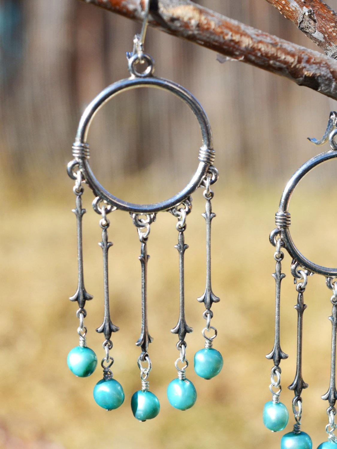 blue and silver long drop hoop bridal earrings
