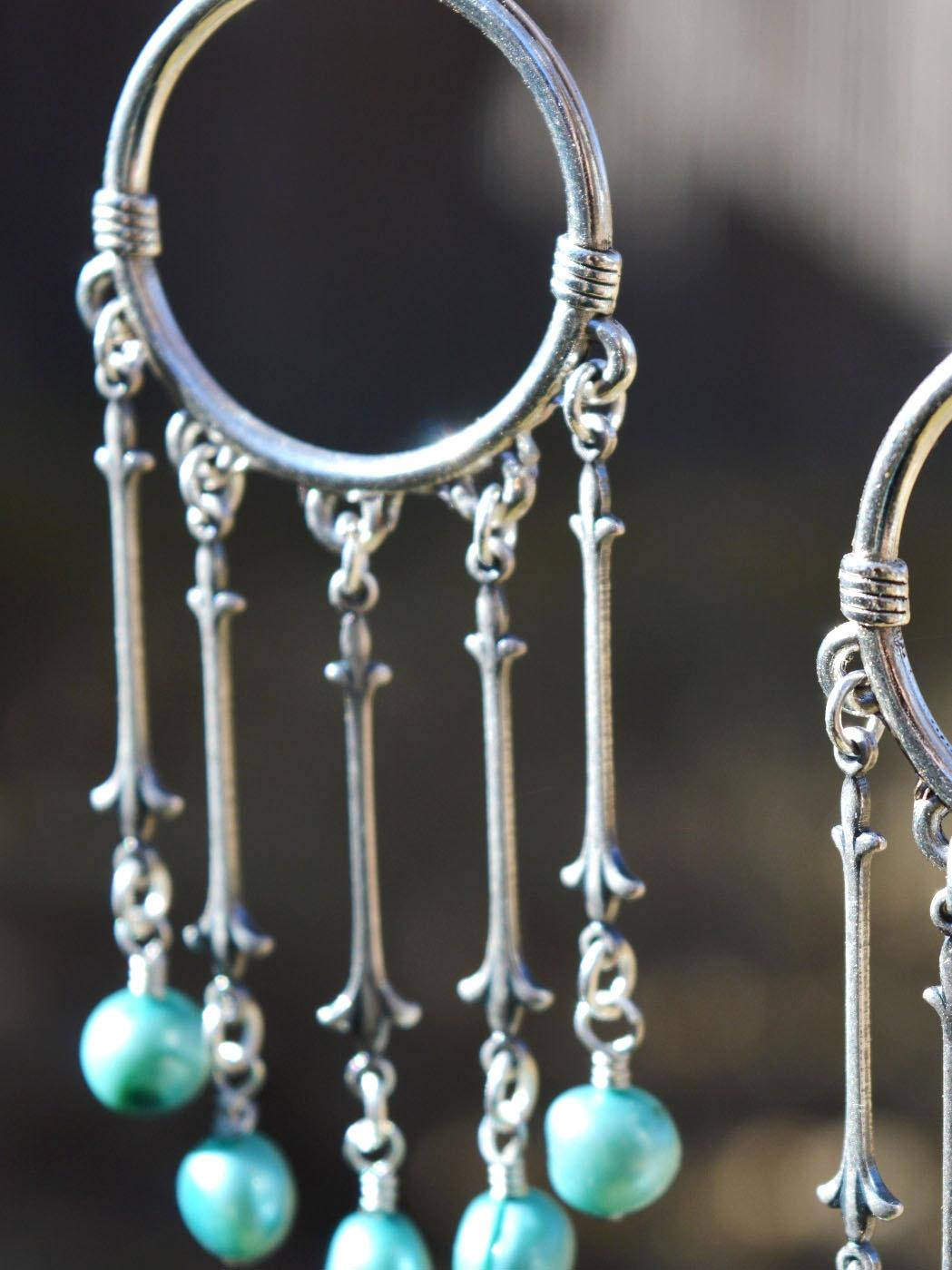 silver bohemian wedding earrings with blue freshwater pearls