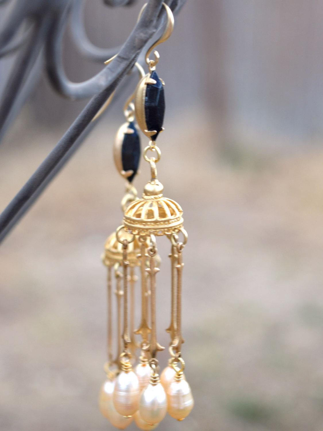 Long gold bridal earrings with black gems and off white freshwater pearls.