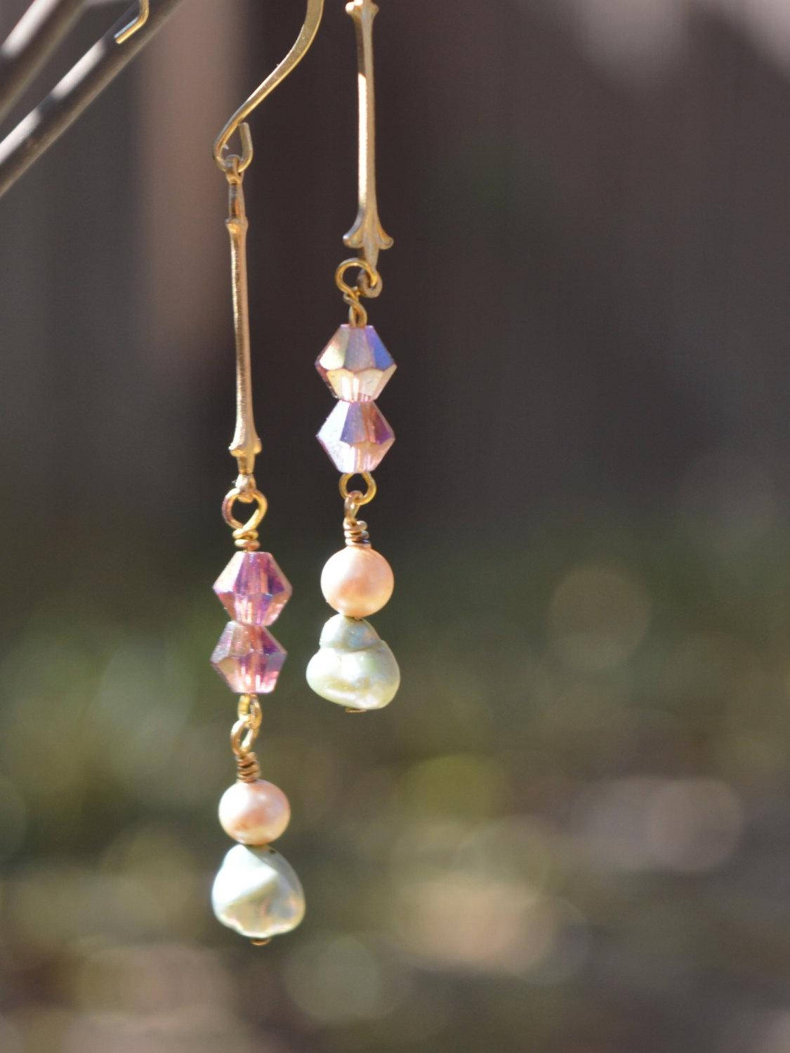 gold, green, pink, and ivory drop earrings for brides