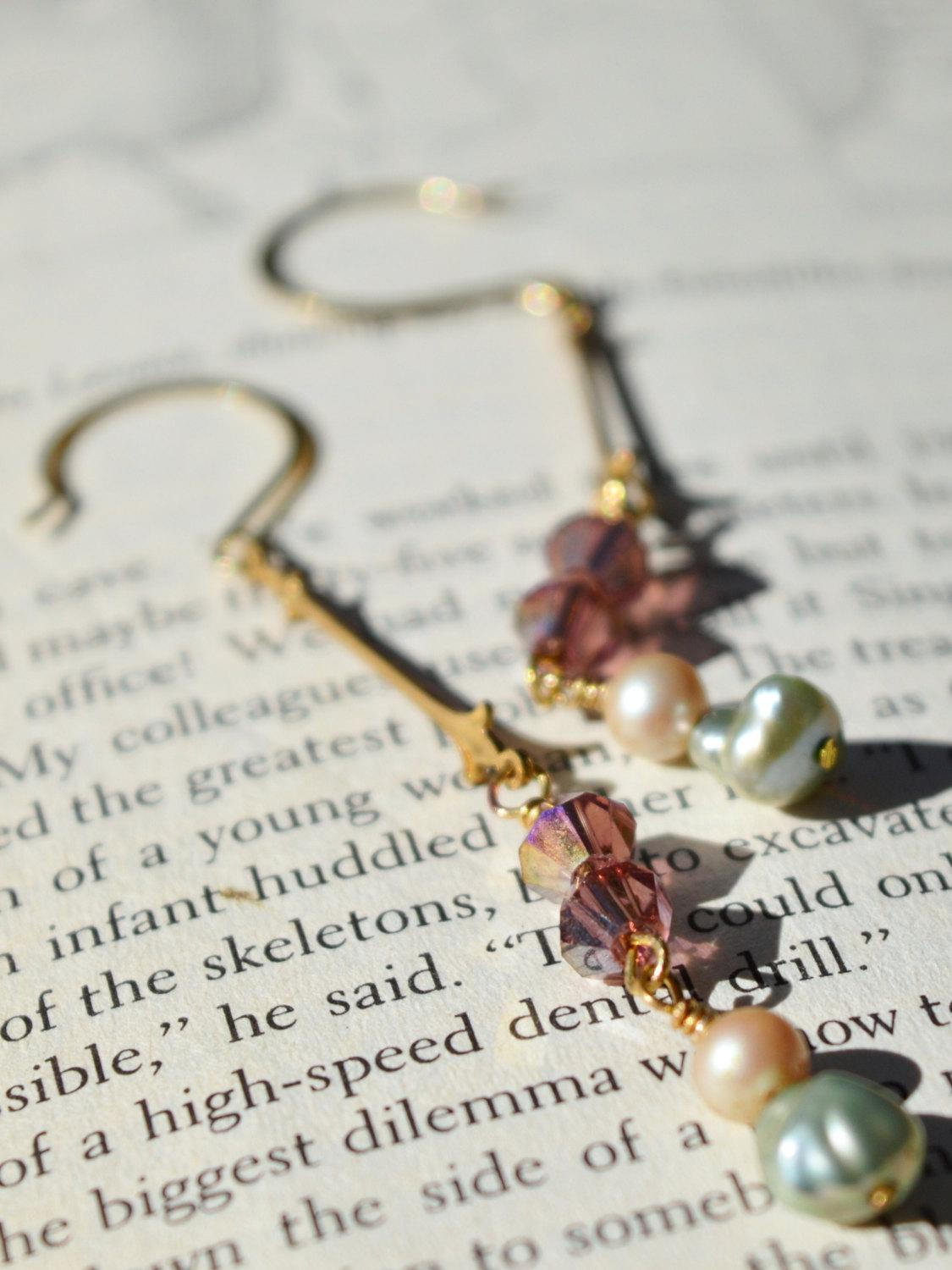 bohemian wedding gold pearl earrings