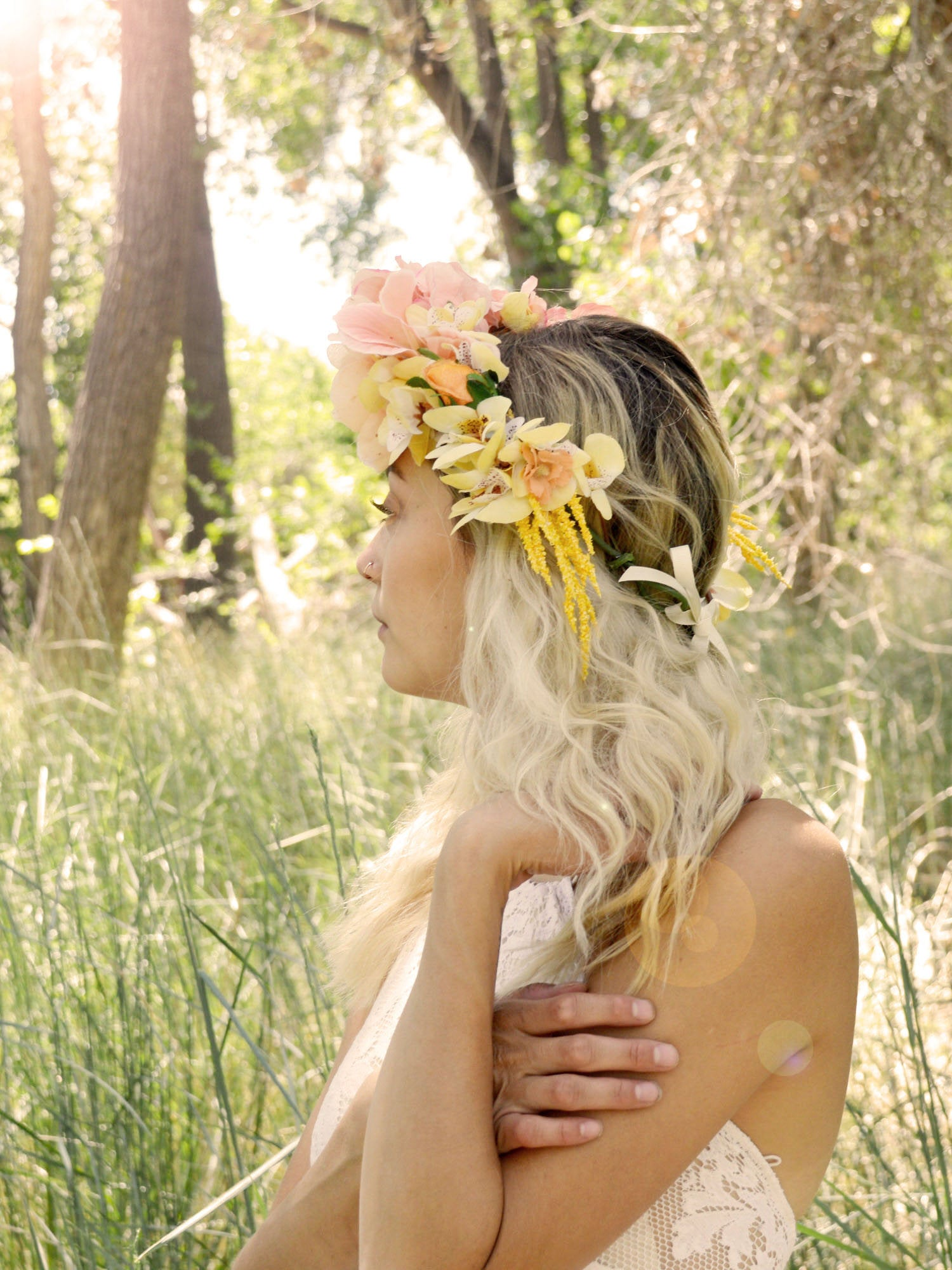 bohemian bride yellow and pink floral crown
