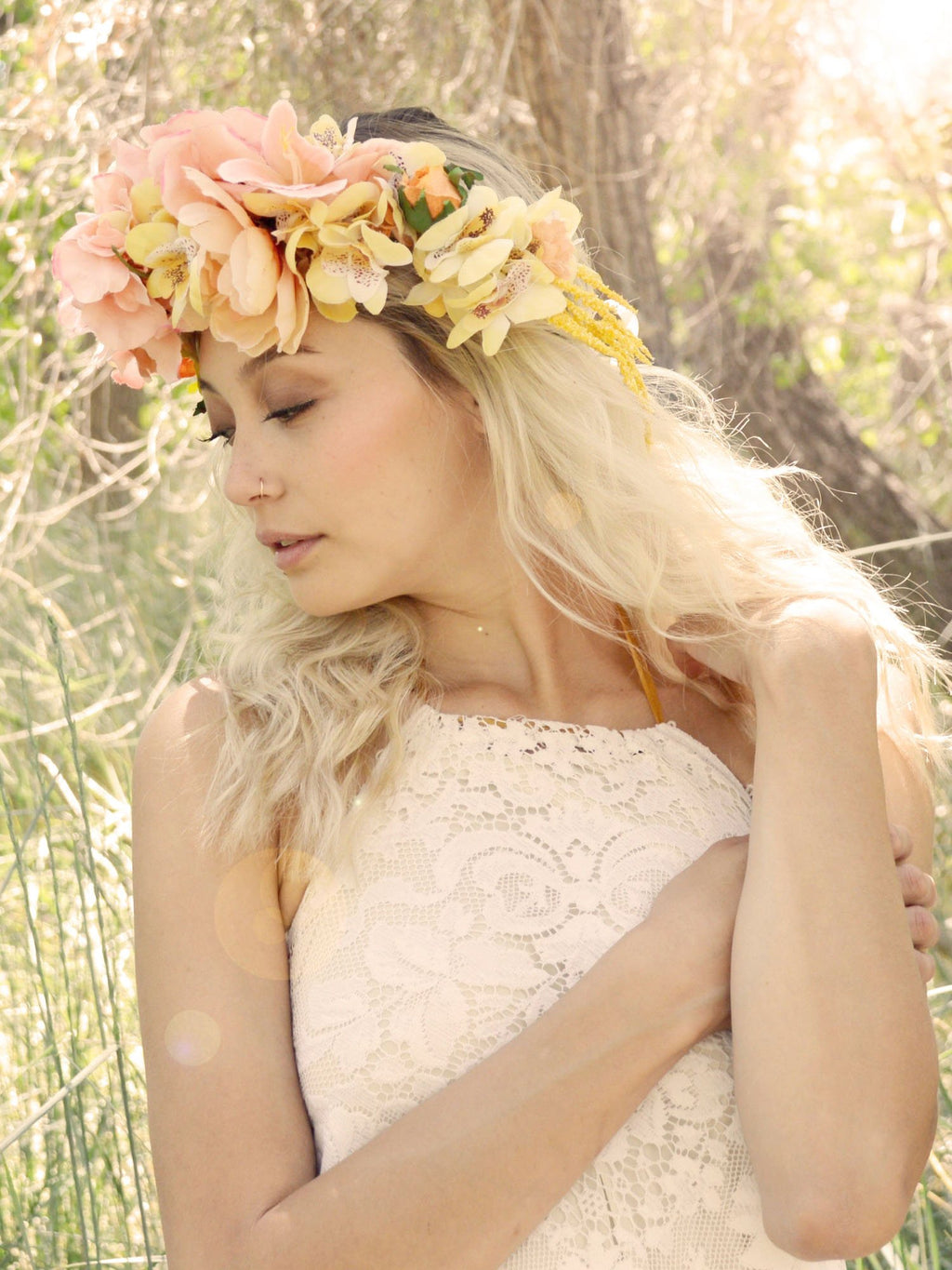 yellow and pink roses bridal flower crown