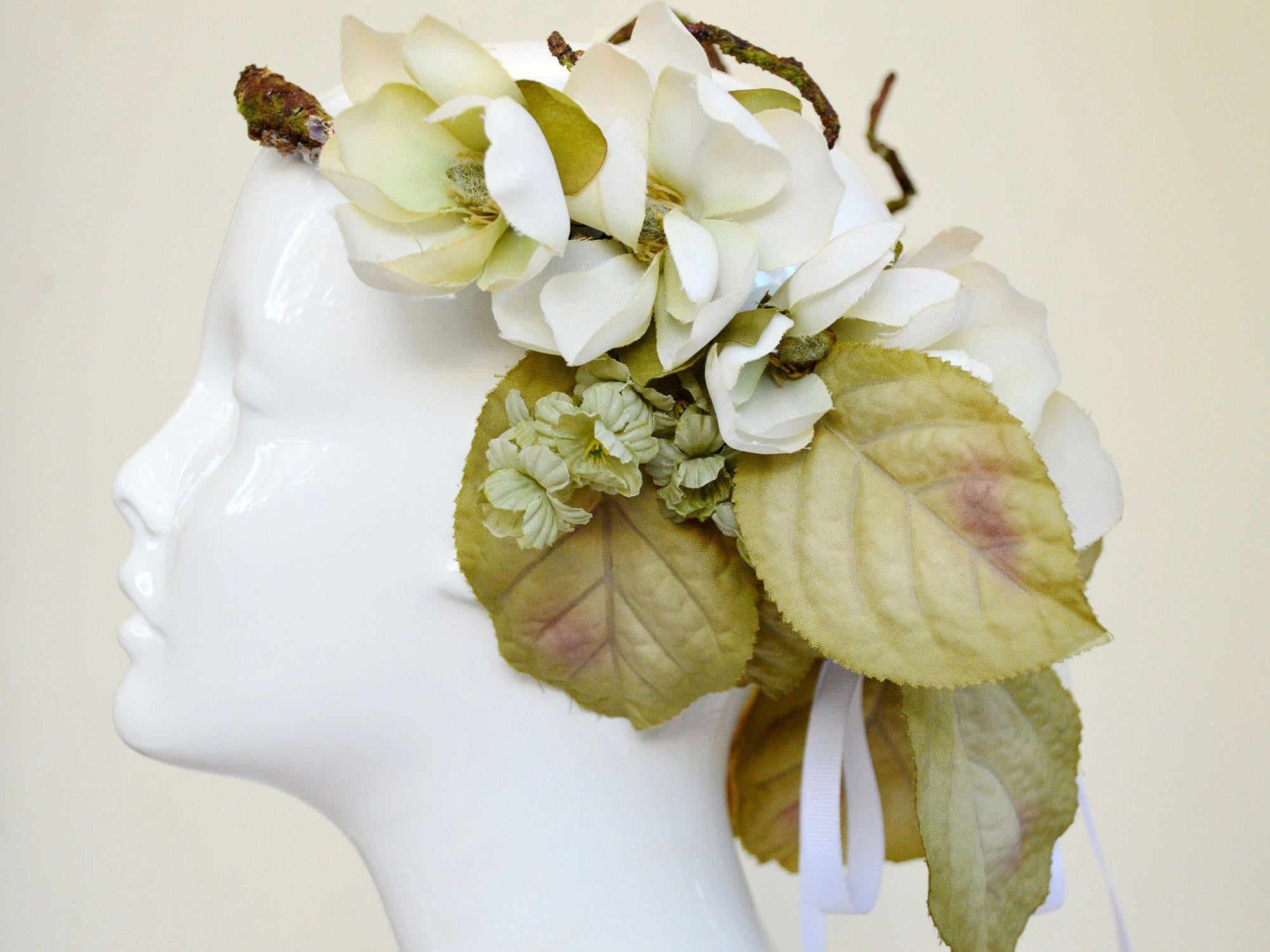 green and ivory floral wreath for brides