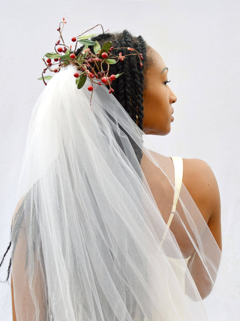 flower crown wedding veil with red berries, branches, and leaves