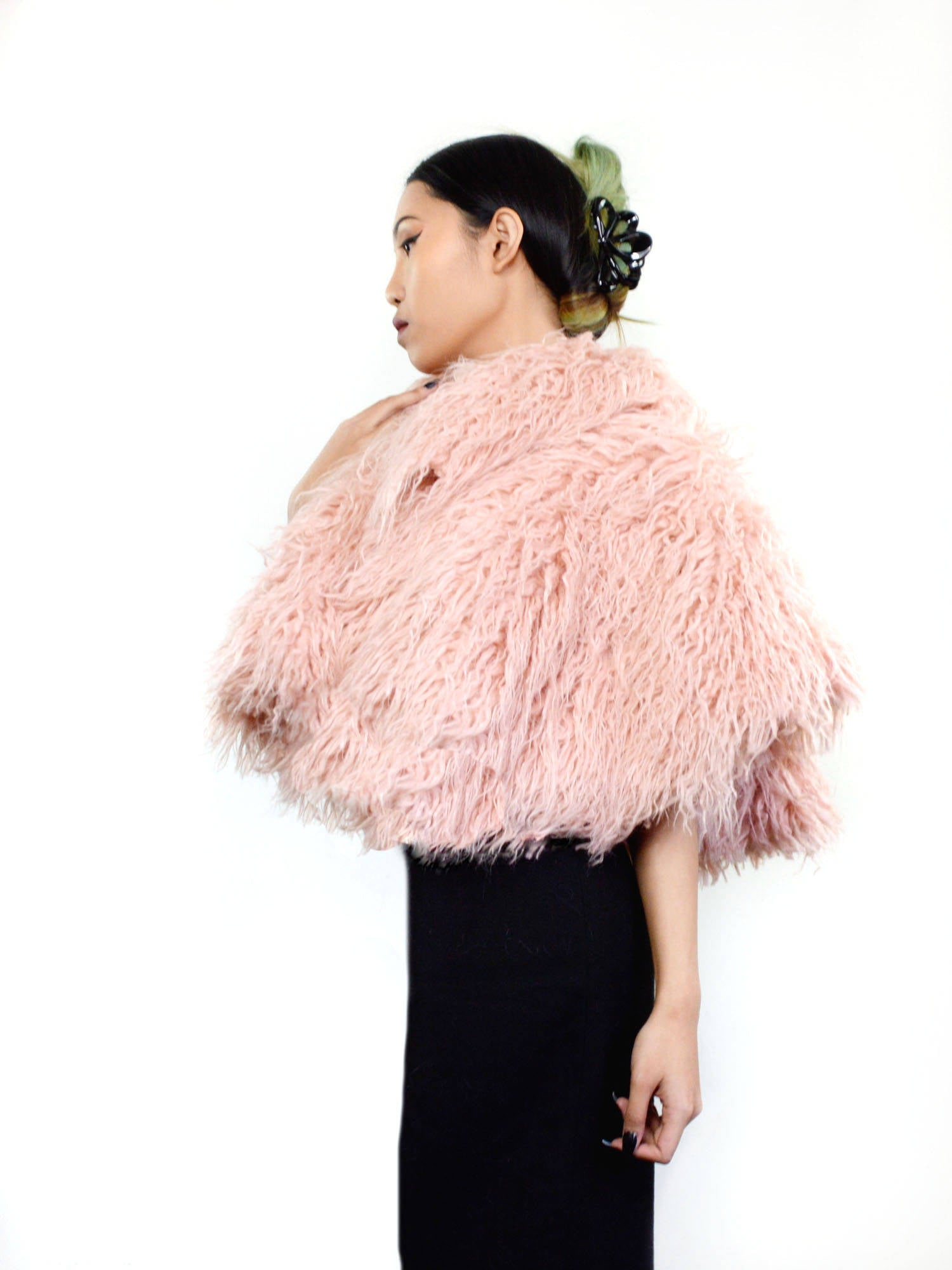 pink faux fur wedding capelet coverup