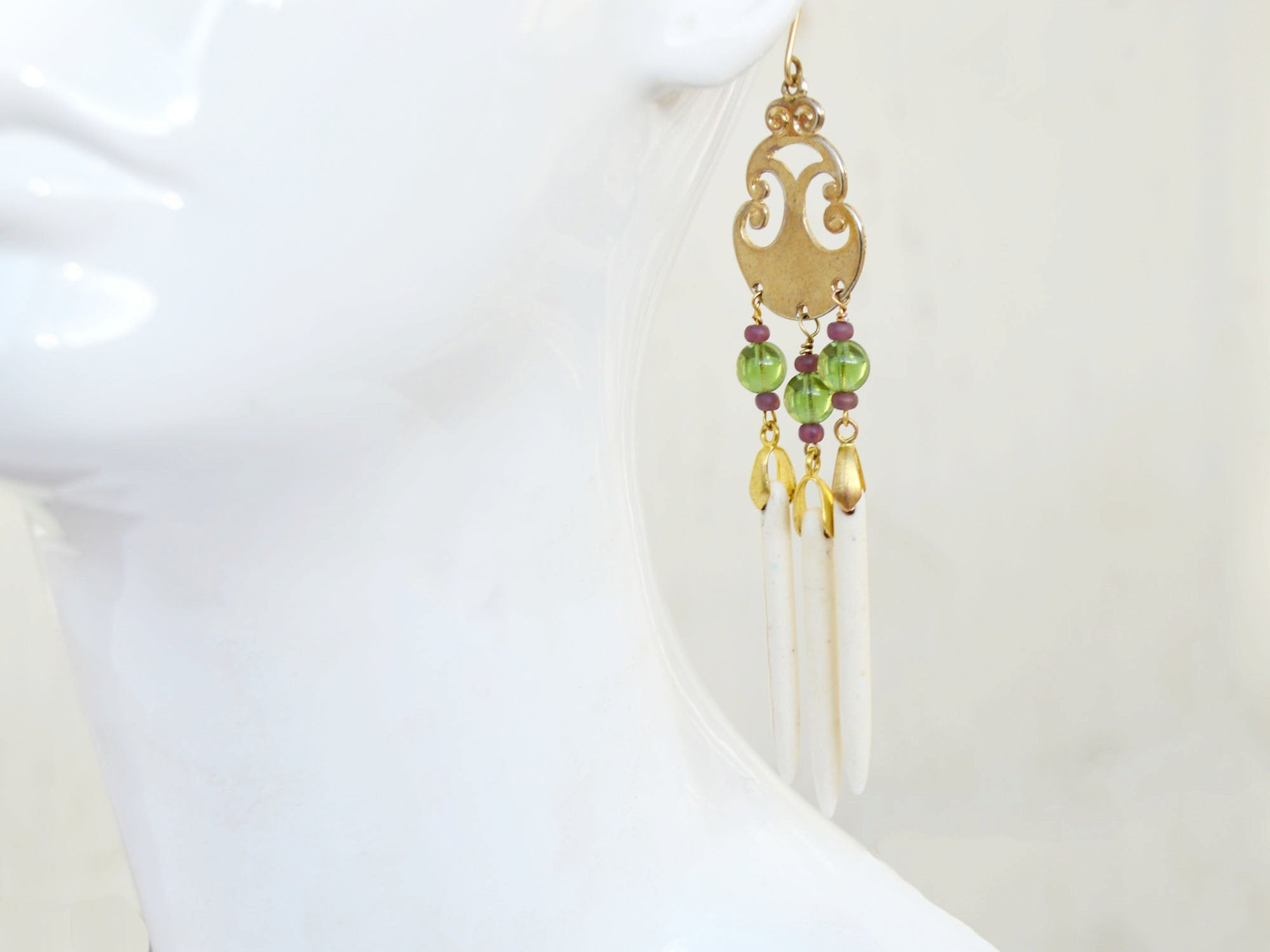 long gold, green, and white drop earring