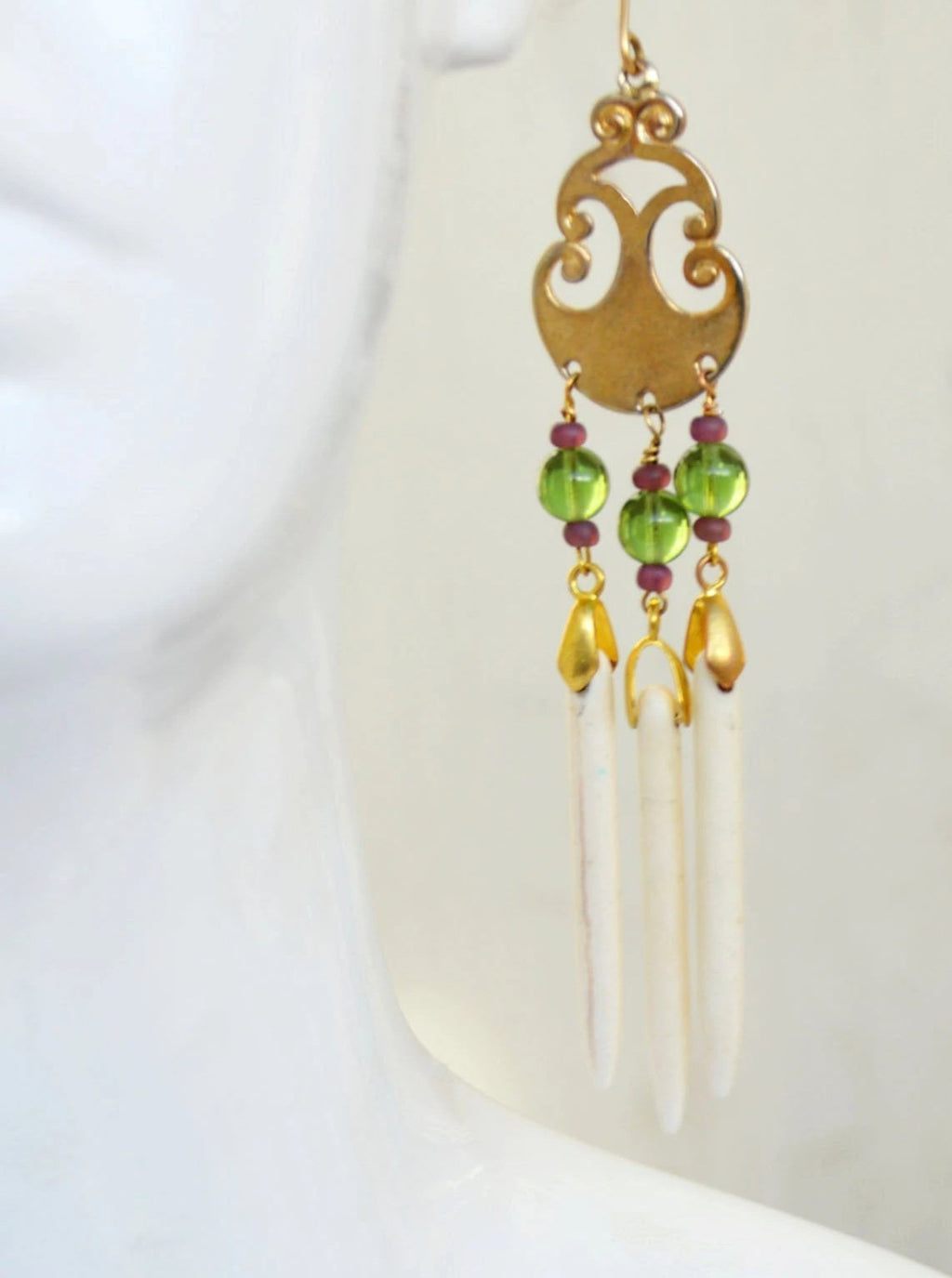 long gold, green, and ivory ear wrap