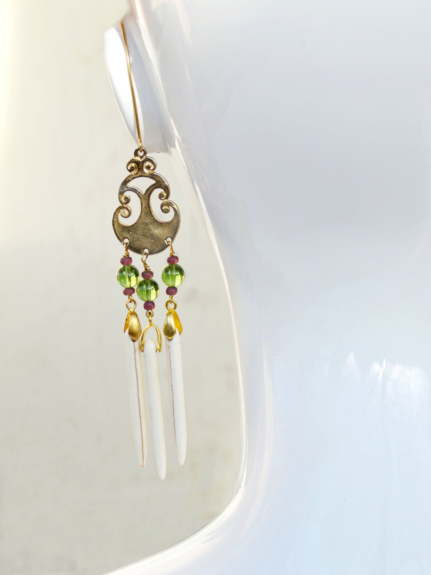 bohemian bridal chandelier ear wrap earring