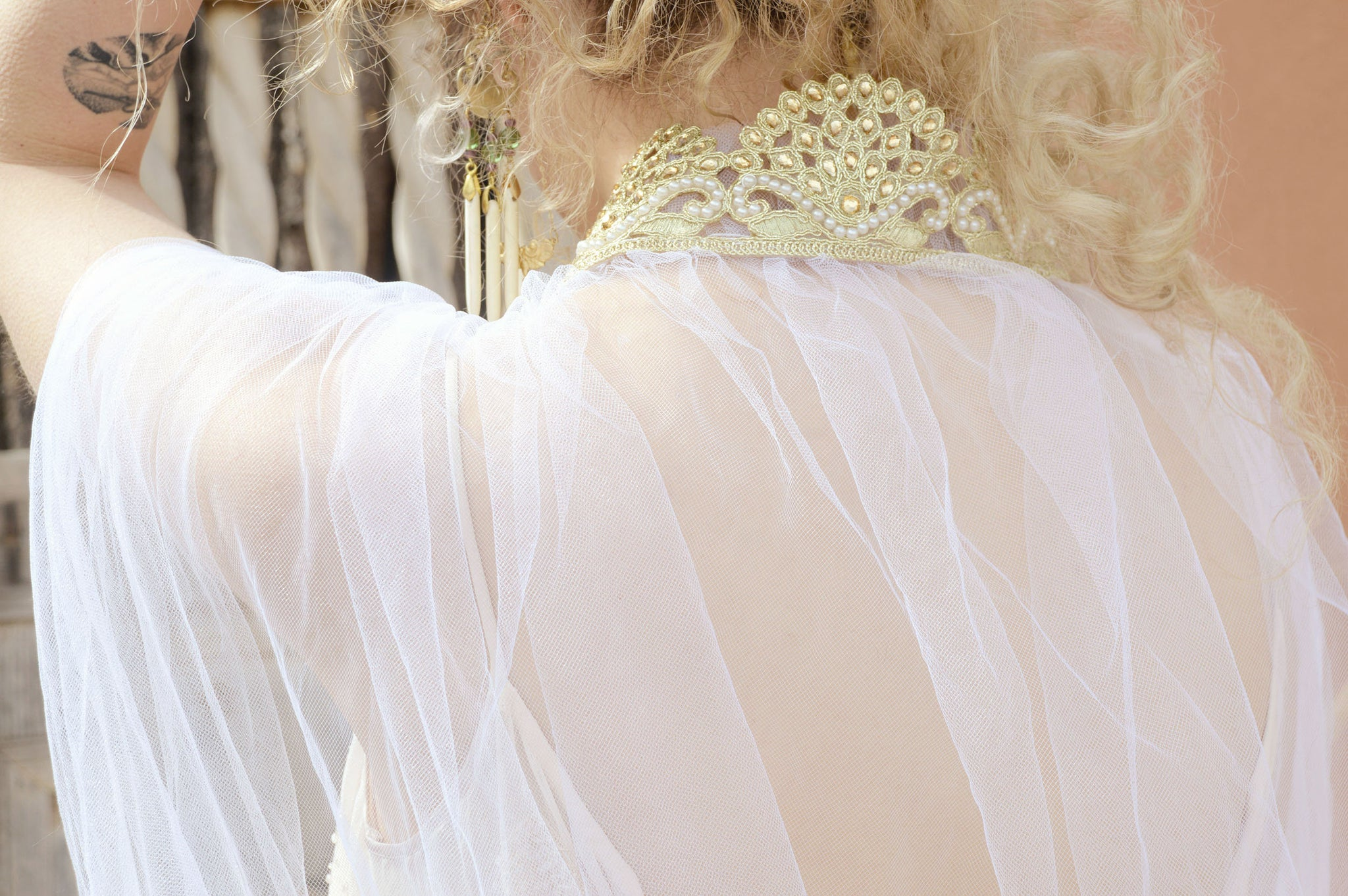 gold and white long wedding cape