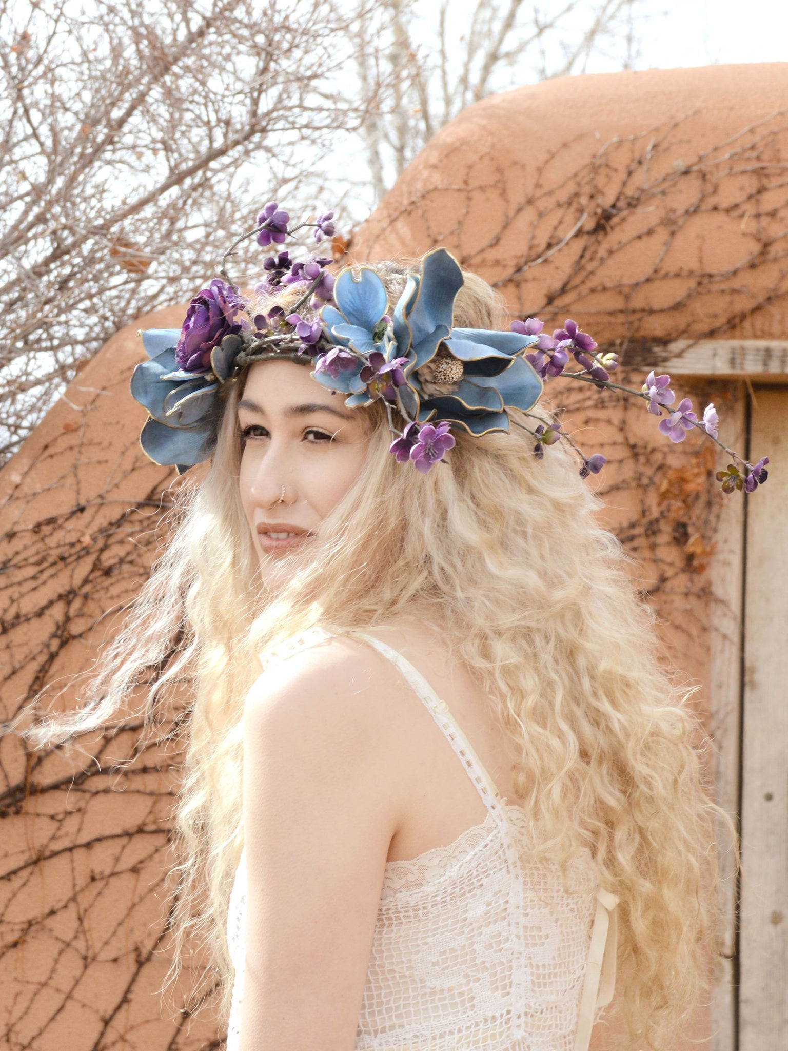 purple and light blue floral bridal head piece