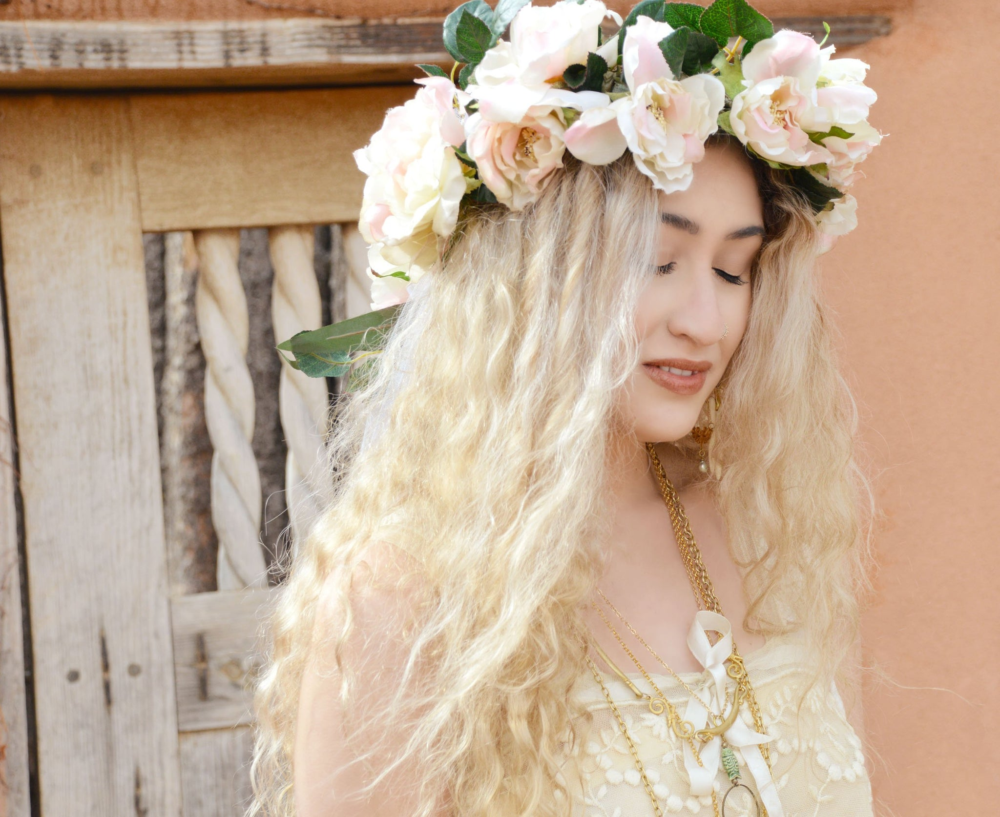 pink and green flower crown bridal veil