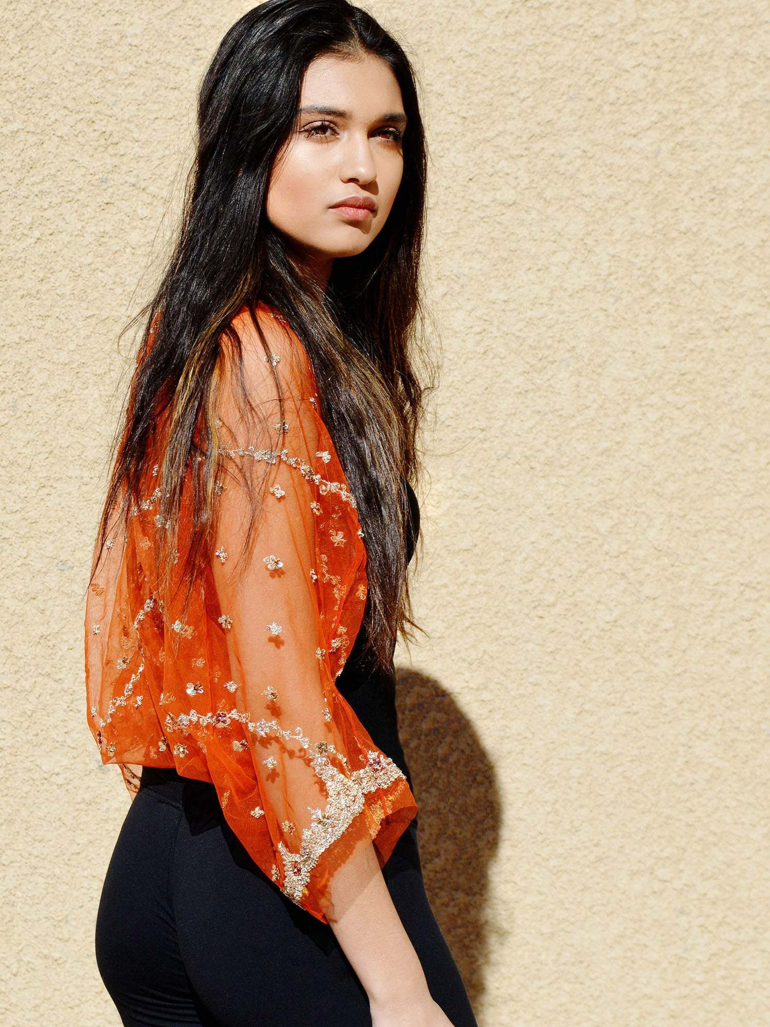 Sheer orange and gold shrug wedding coverup.