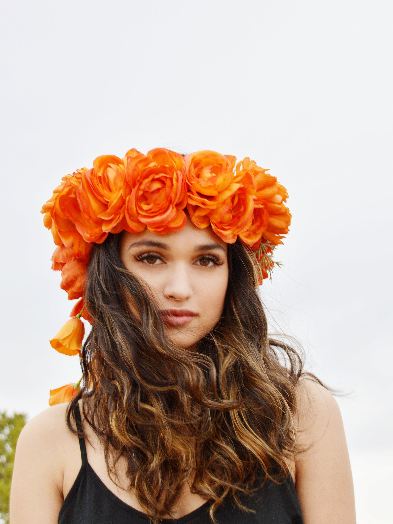 orange roses bridal head piece
