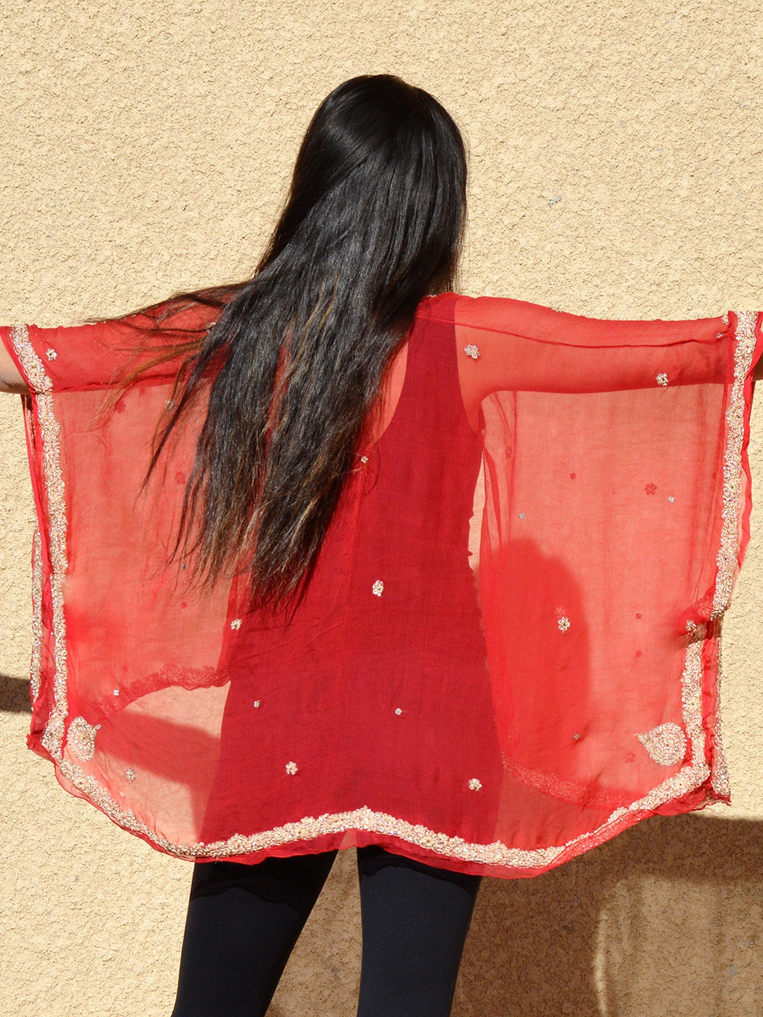 long sleeve red silk open kimono bridal coverup jacket