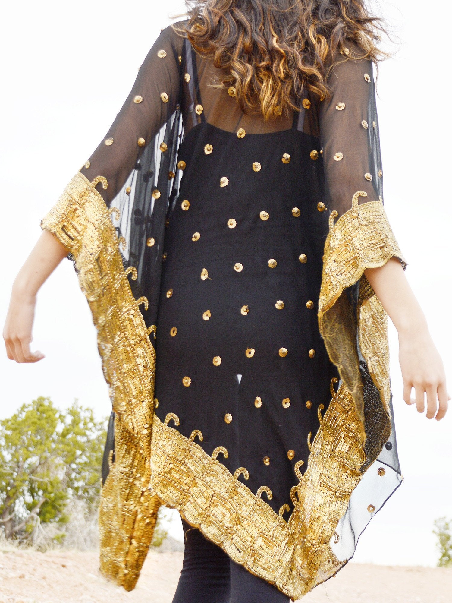 sheer black silk kimono jacket with gold sequins