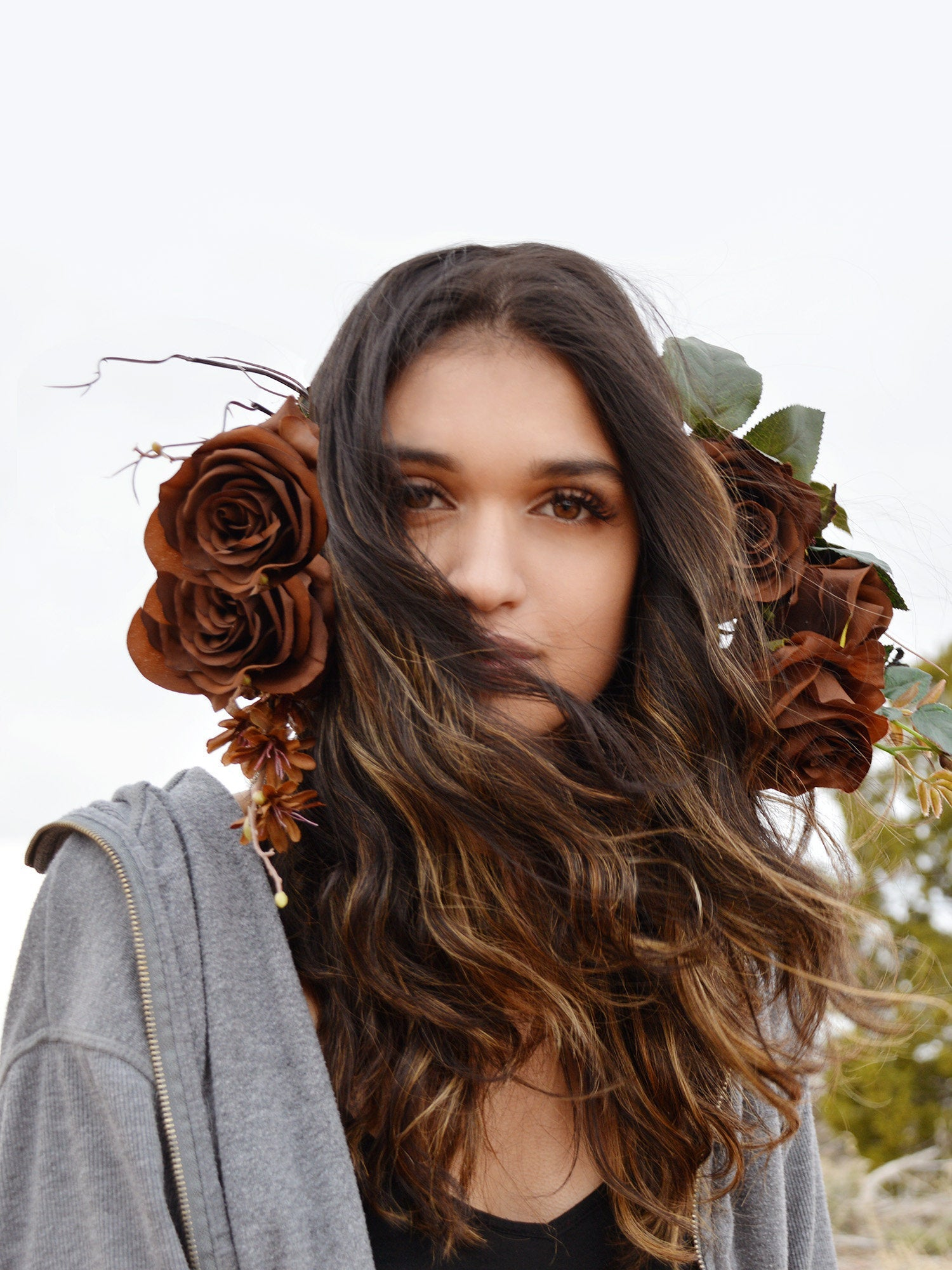 brown roses flower crown