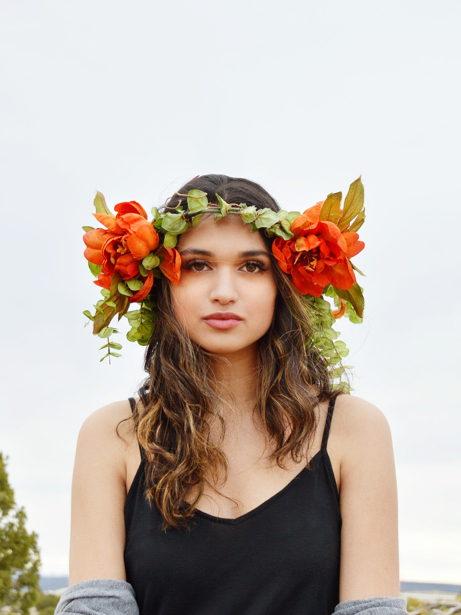 bridal flower crown in orange and green