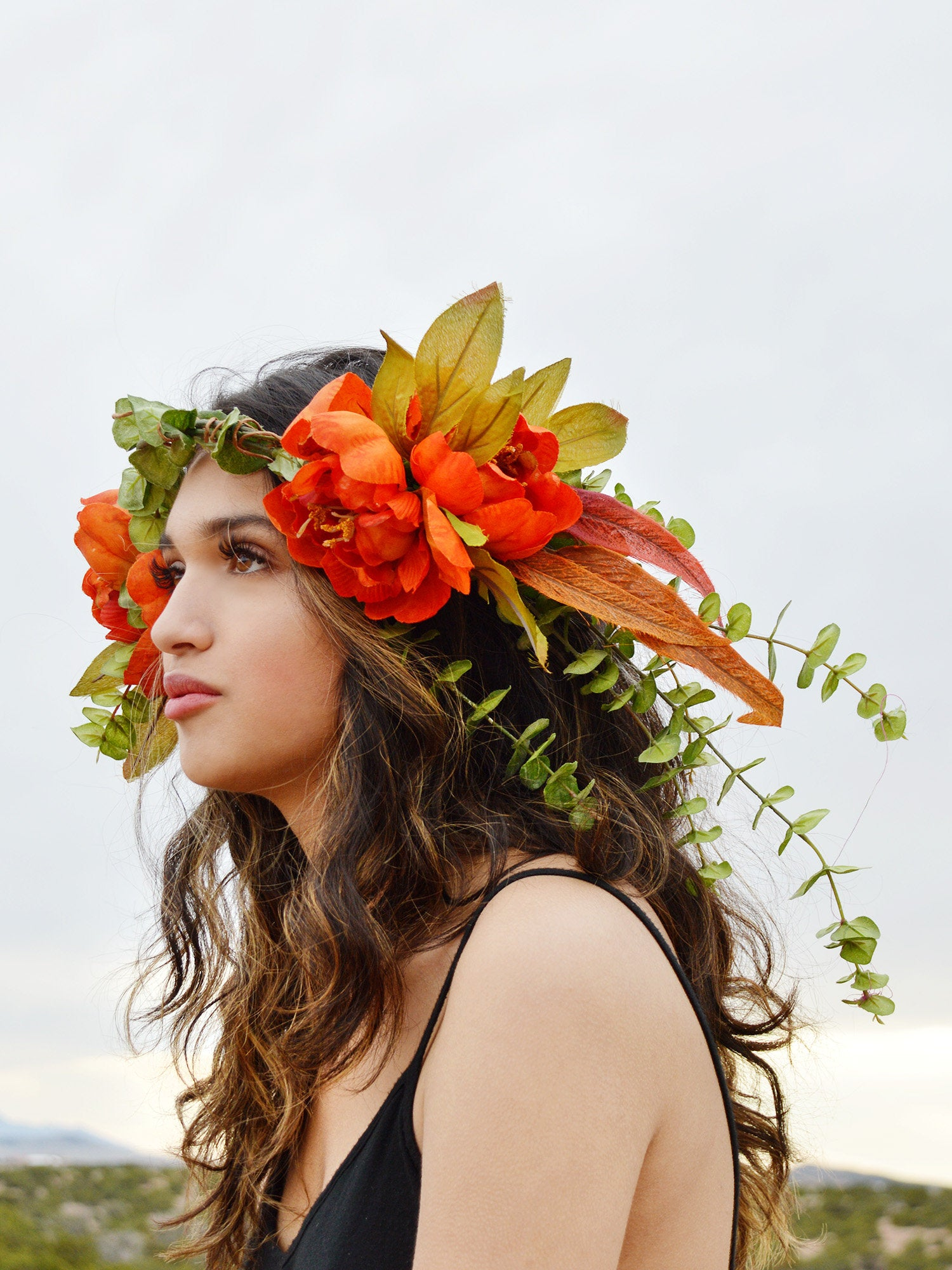 large orange and green flower crown for brides