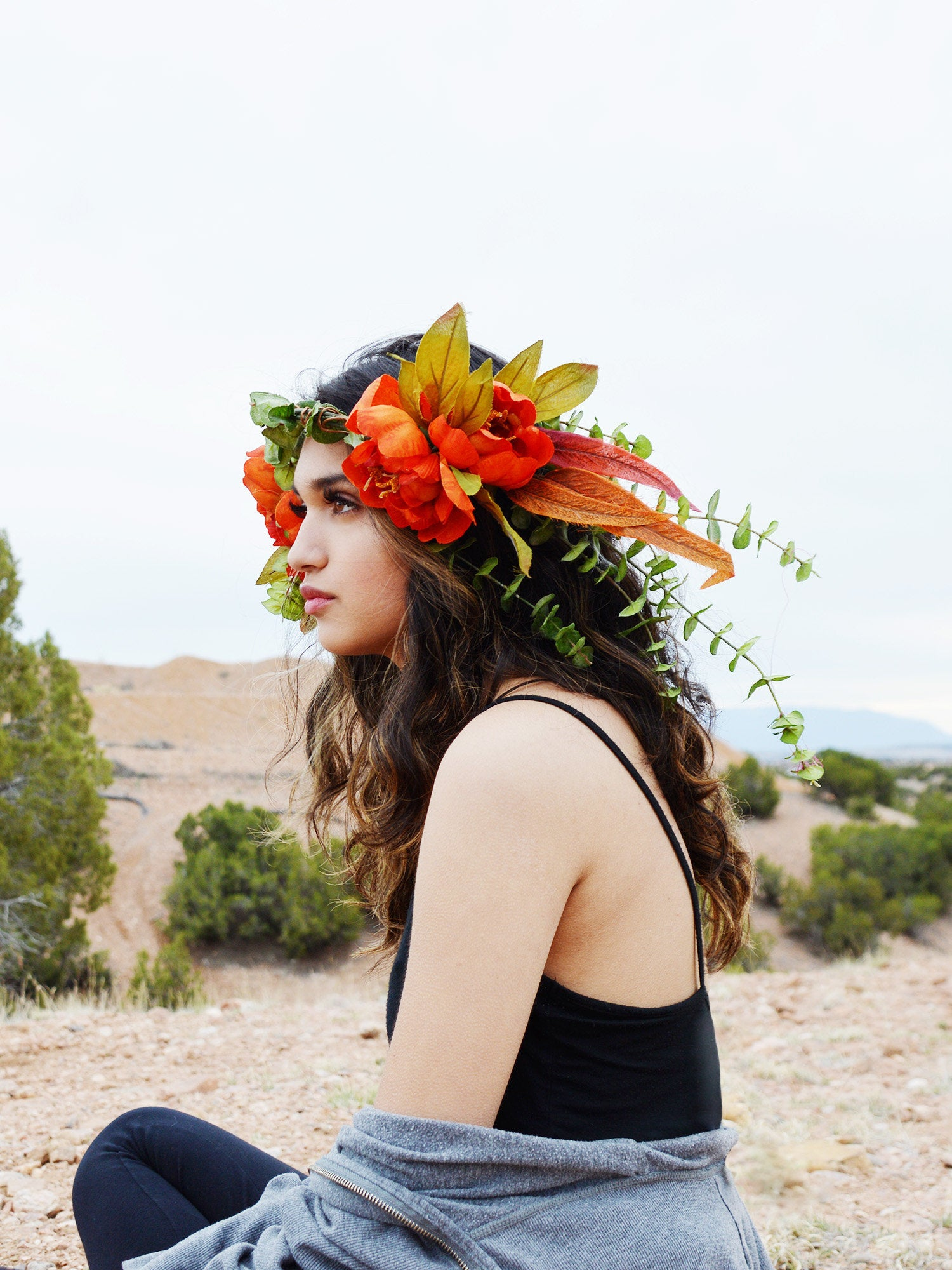 large statement head piece floral crown