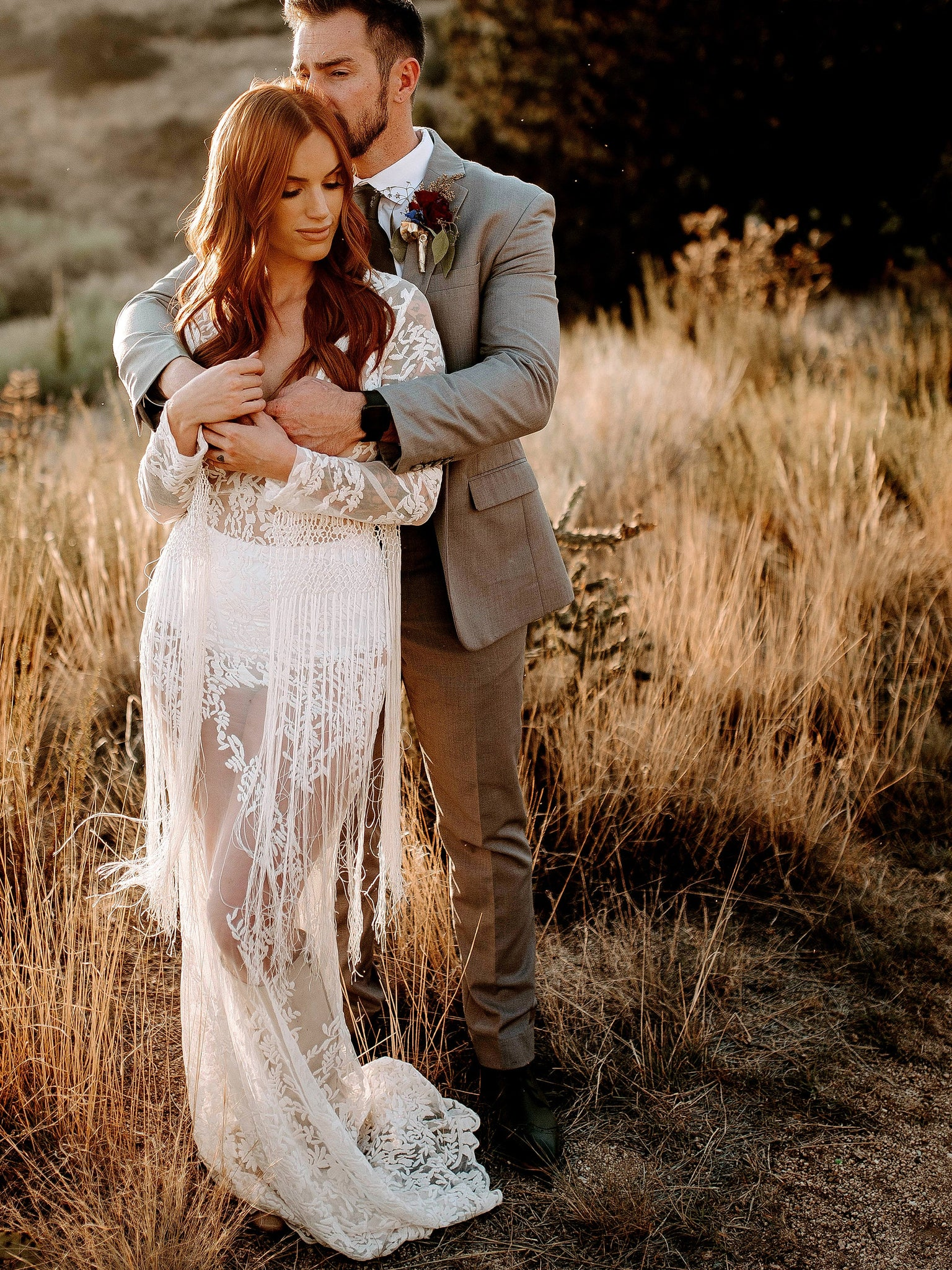 sexy long sleeve v neck lace wedding dress