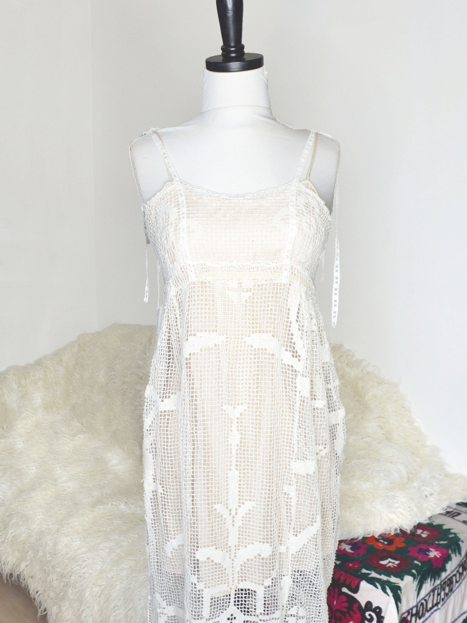Long cotton crochet regency wedding gown with spaghetti straps.