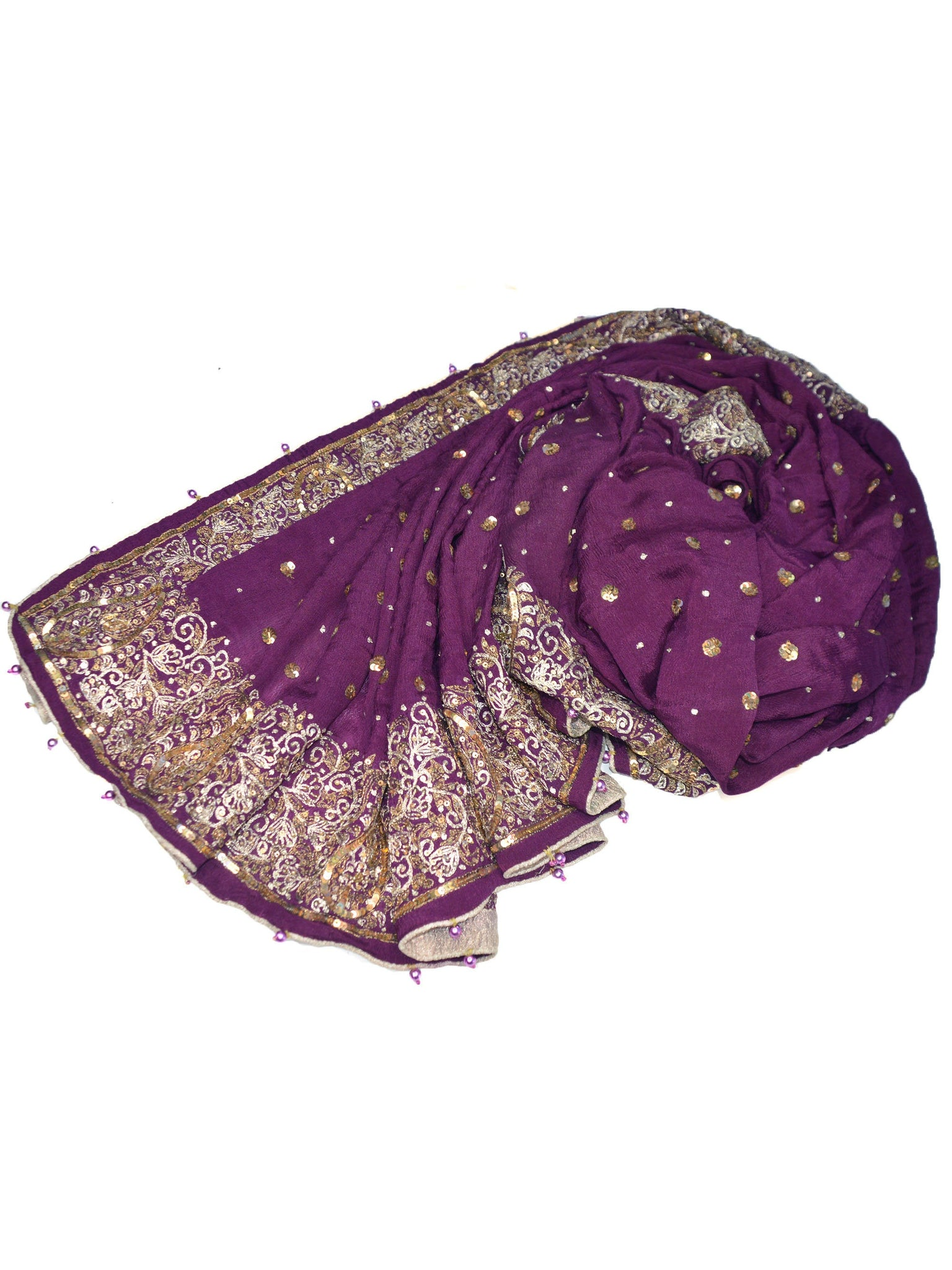 Long purple wedding shawl with sequins.